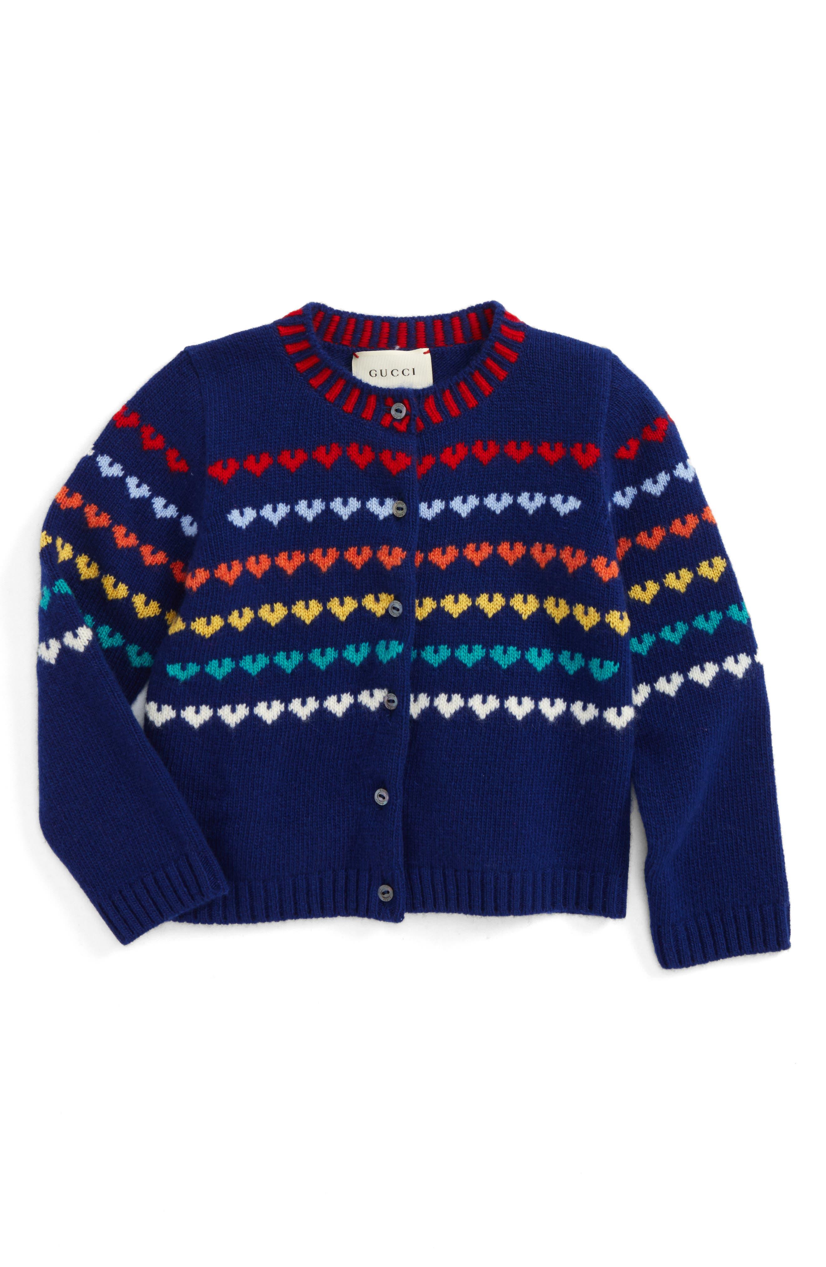 Logo Wool & Cashmere Cardigan,                             Main thumbnail 1, color,                             Blue Multi