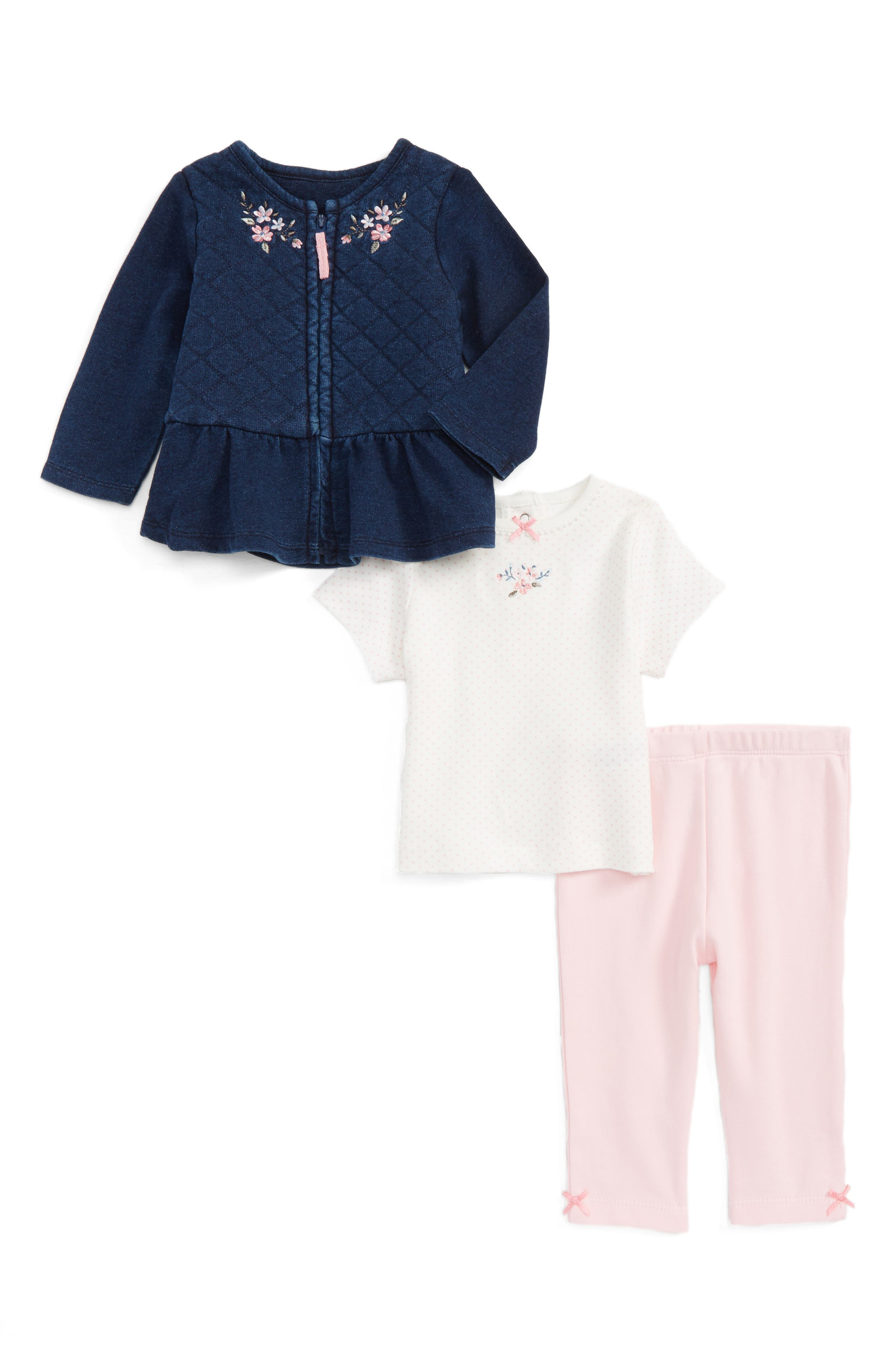 Main Image - Little Me Embroidered Jacket, Tee & Leggings Set (Baby Girls)