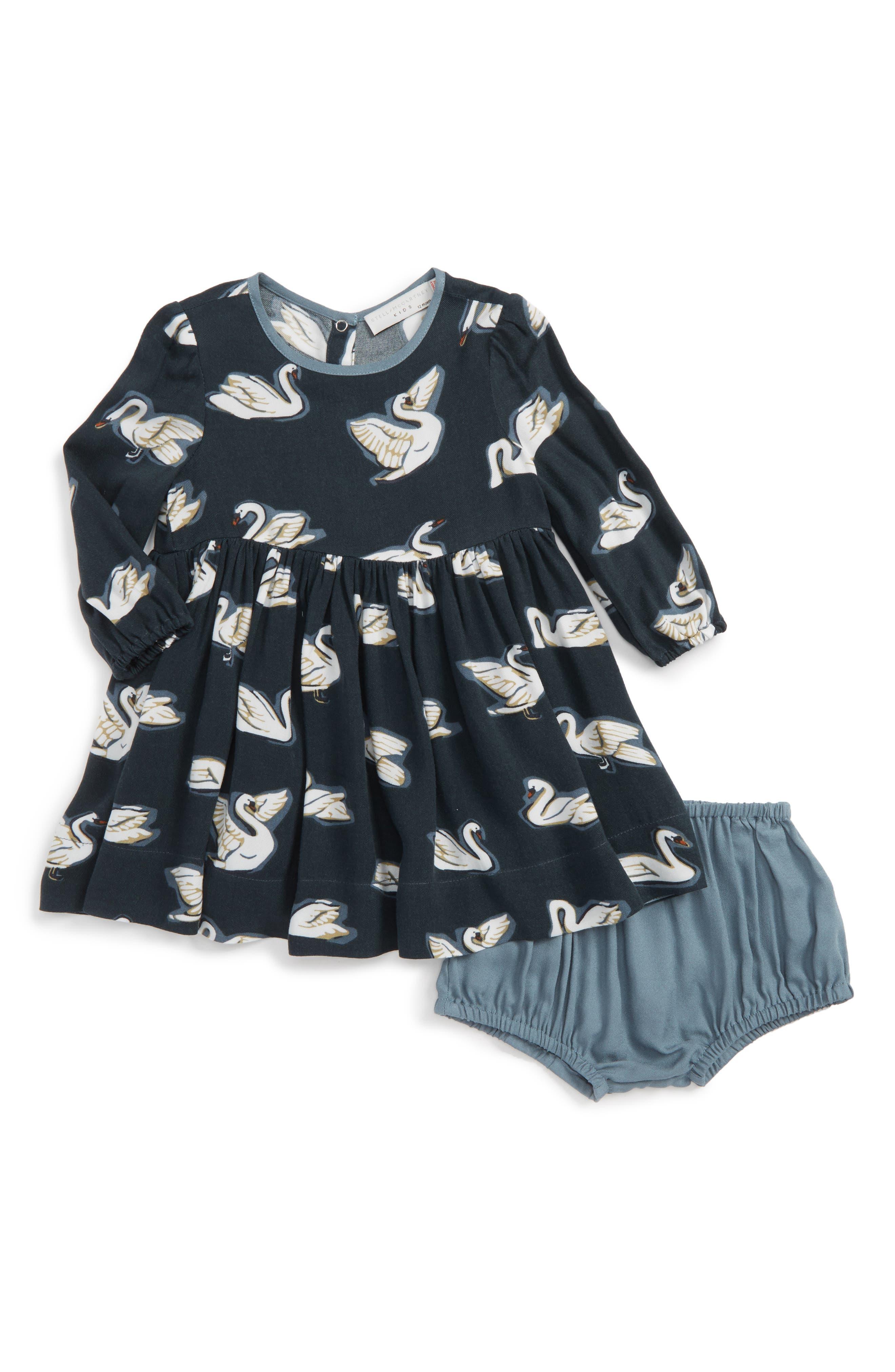 Kids Fleur Swan Print Dress,                             Main thumbnail 1, color,                             Petrol