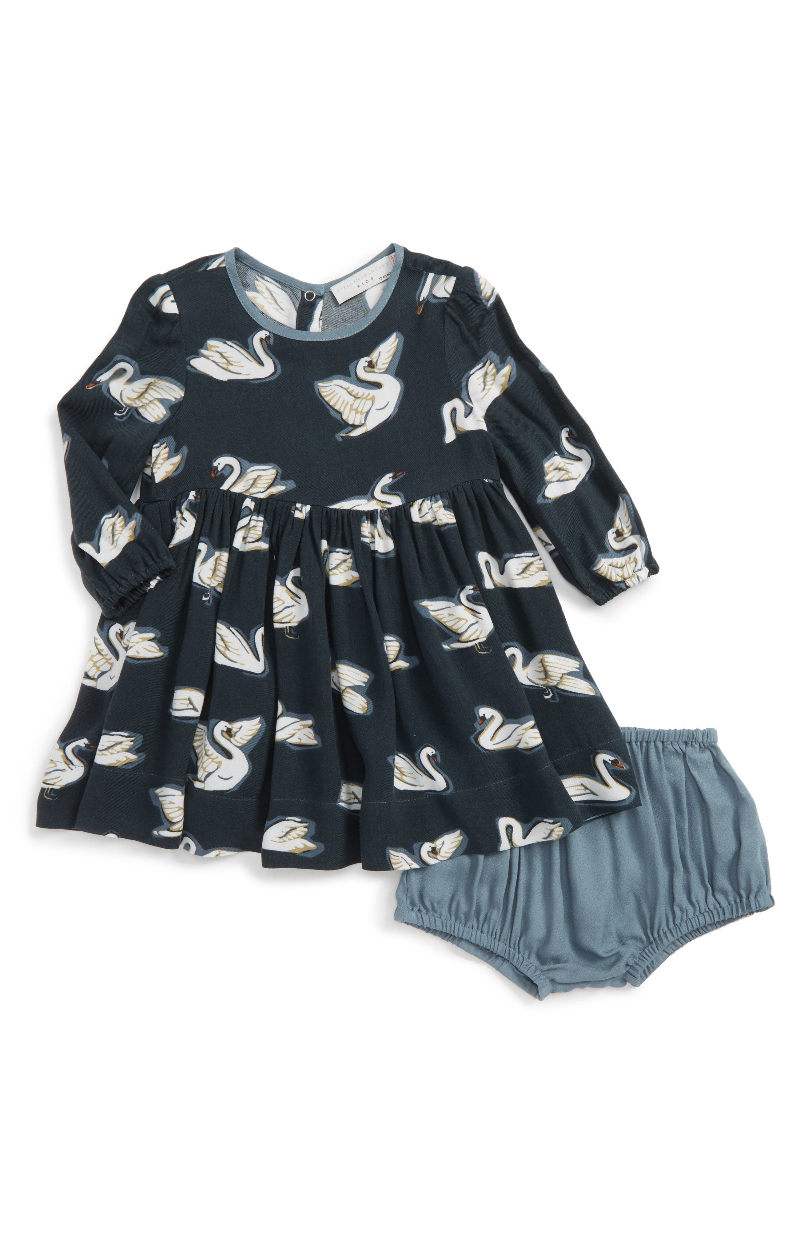 Kids Fleur Swan Print Dress,                         Main,                         color, Petrol