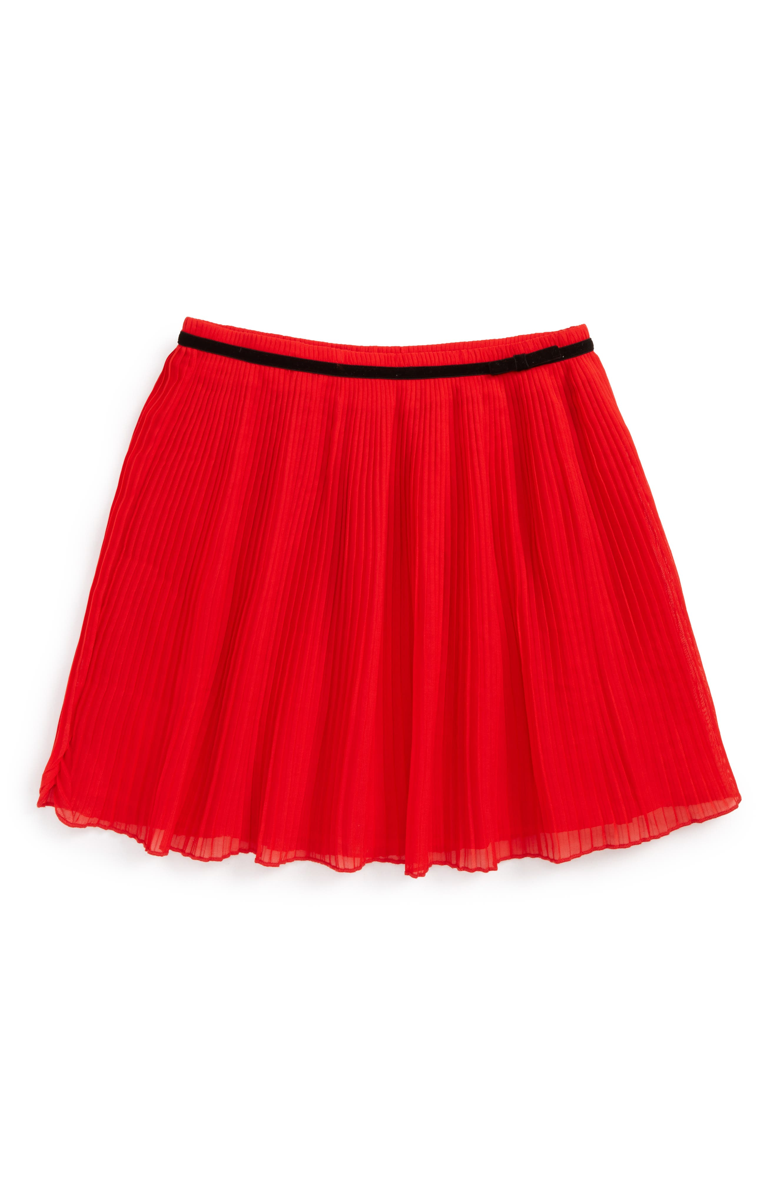 pleated chiffon skirt,                         Main,                         color, Studio Red