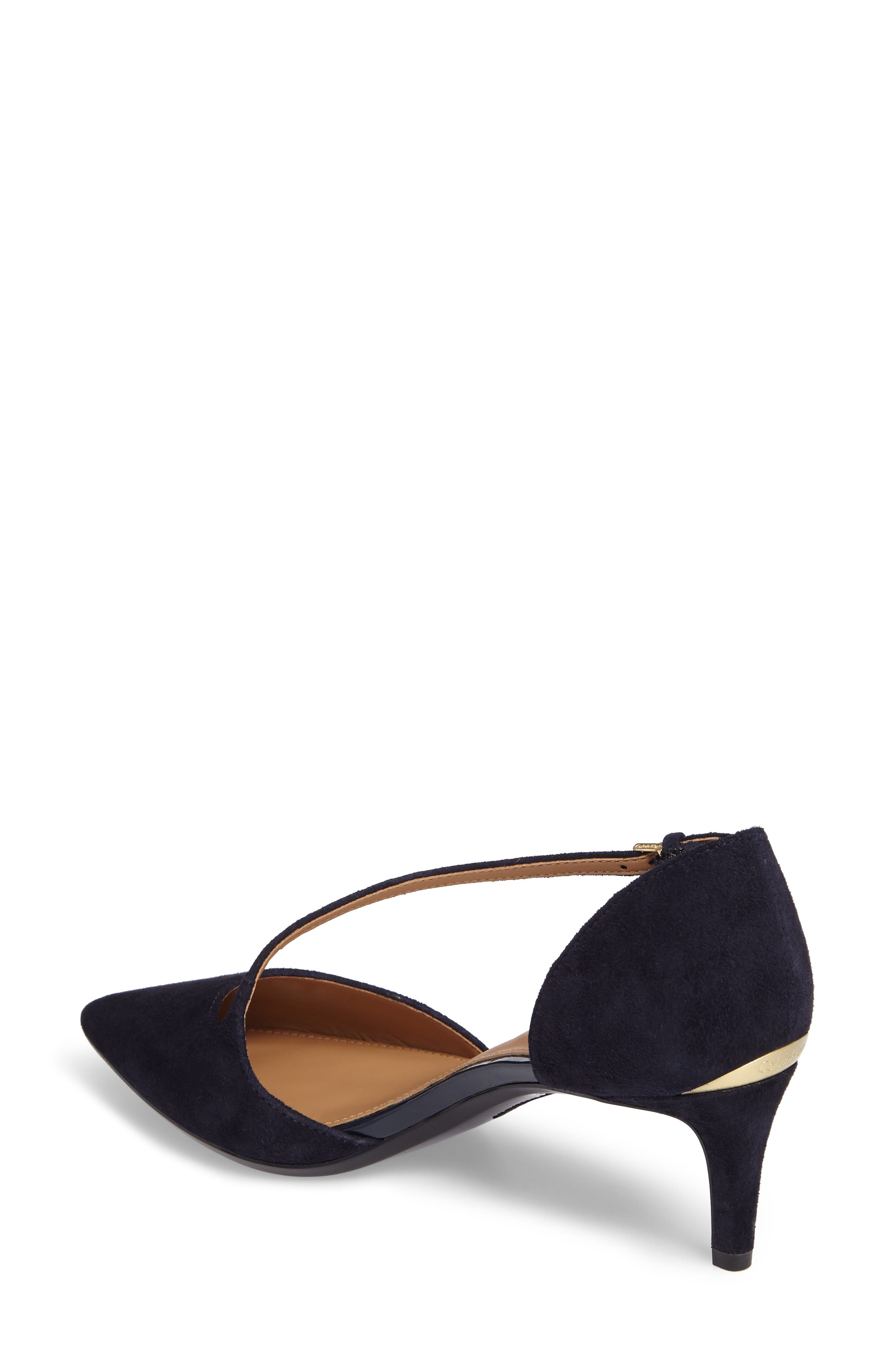 Page Pointy Toe Pump,                             Alternate thumbnail 2, color,                             Deep Navy Suede