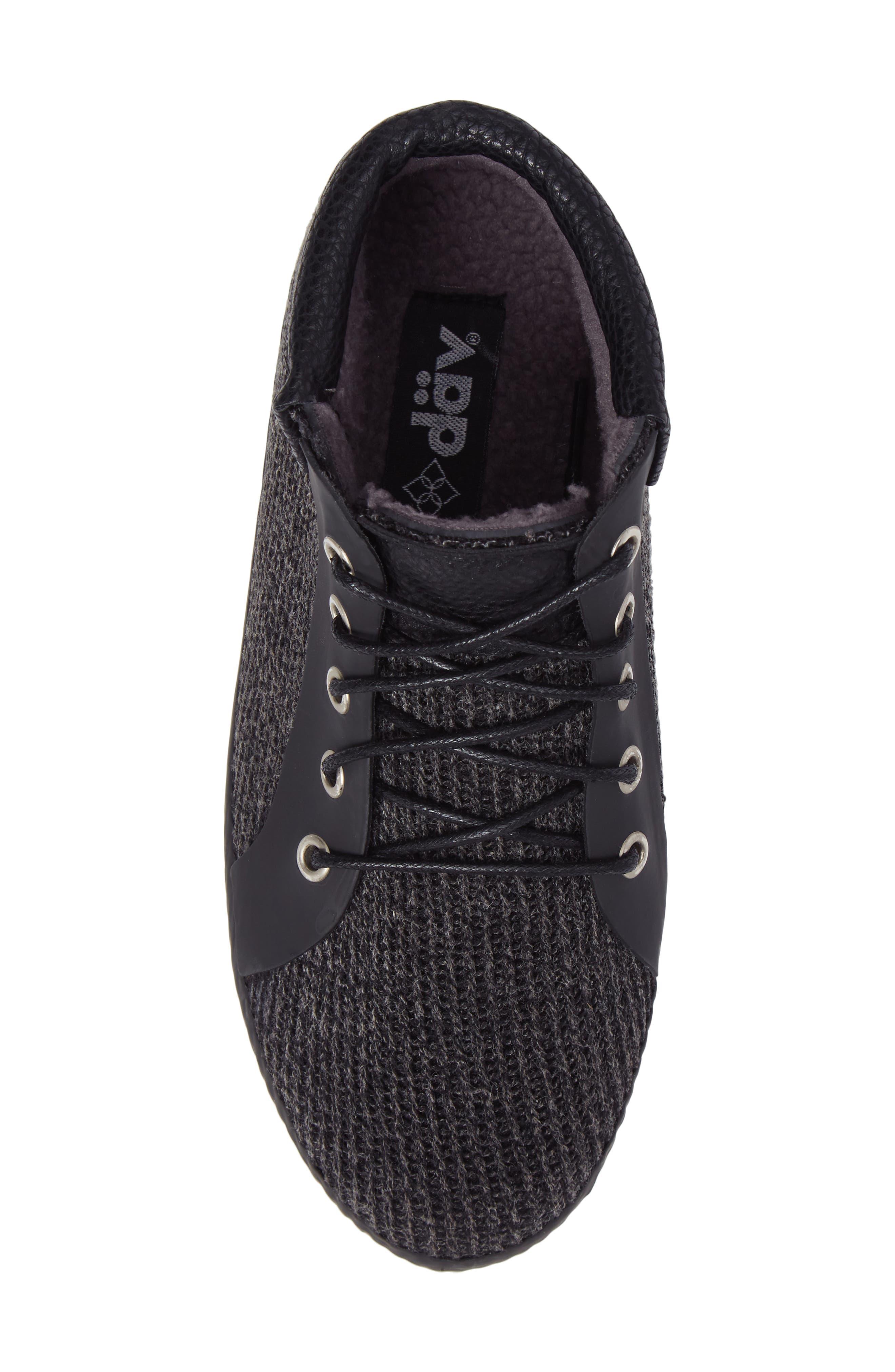 Hampton Waterproof Mid Sneaker,                             Alternate thumbnail 5, color,                             Black Fabric