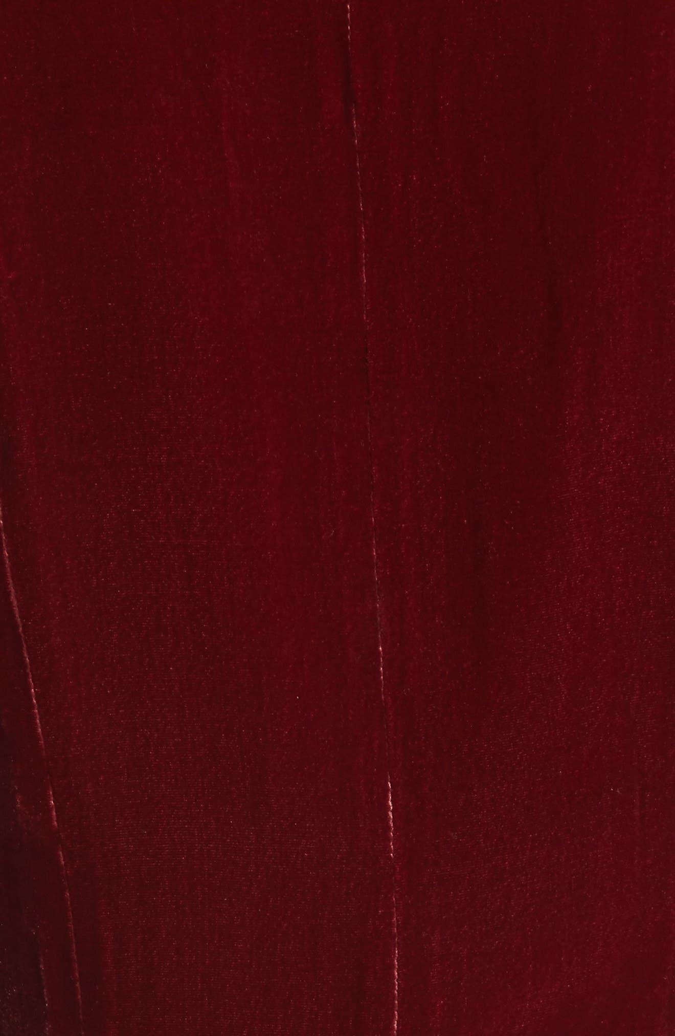 Rosalind Velvet Maxi Wrap Dress,                             Alternate thumbnail 5, color,                             Ruby