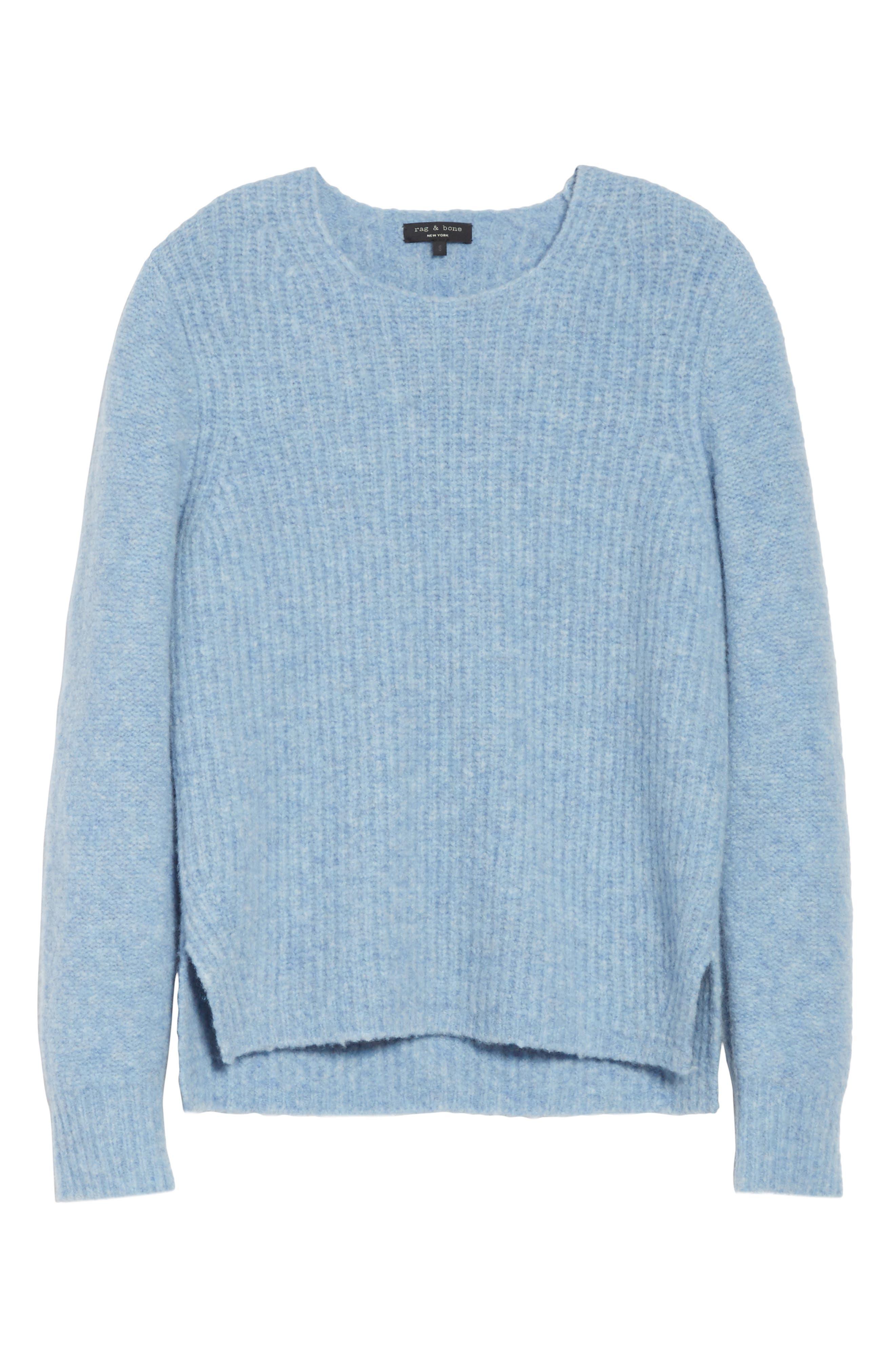 Francie Merino Wool Blend Sweater,                             Alternate thumbnail 6, color,                             Light Blue