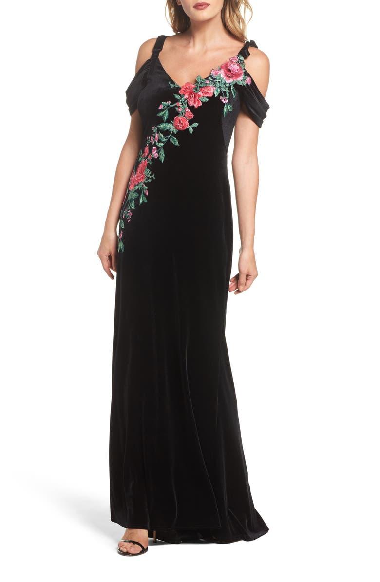 Embroidered Cold Shoulder Velvet Gown