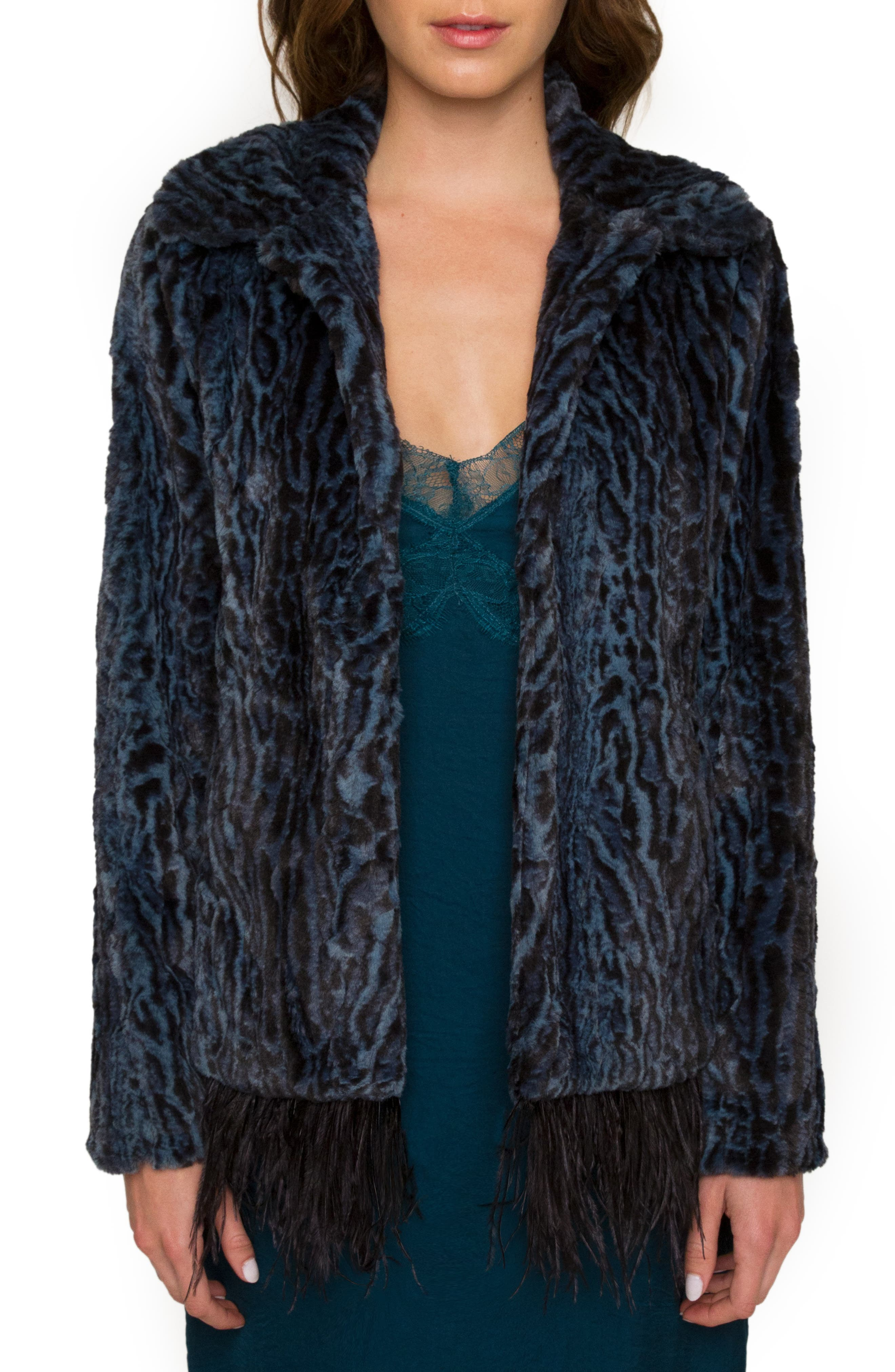 Main Image - Willow & Clay Animal Print Faux Fur Jacket