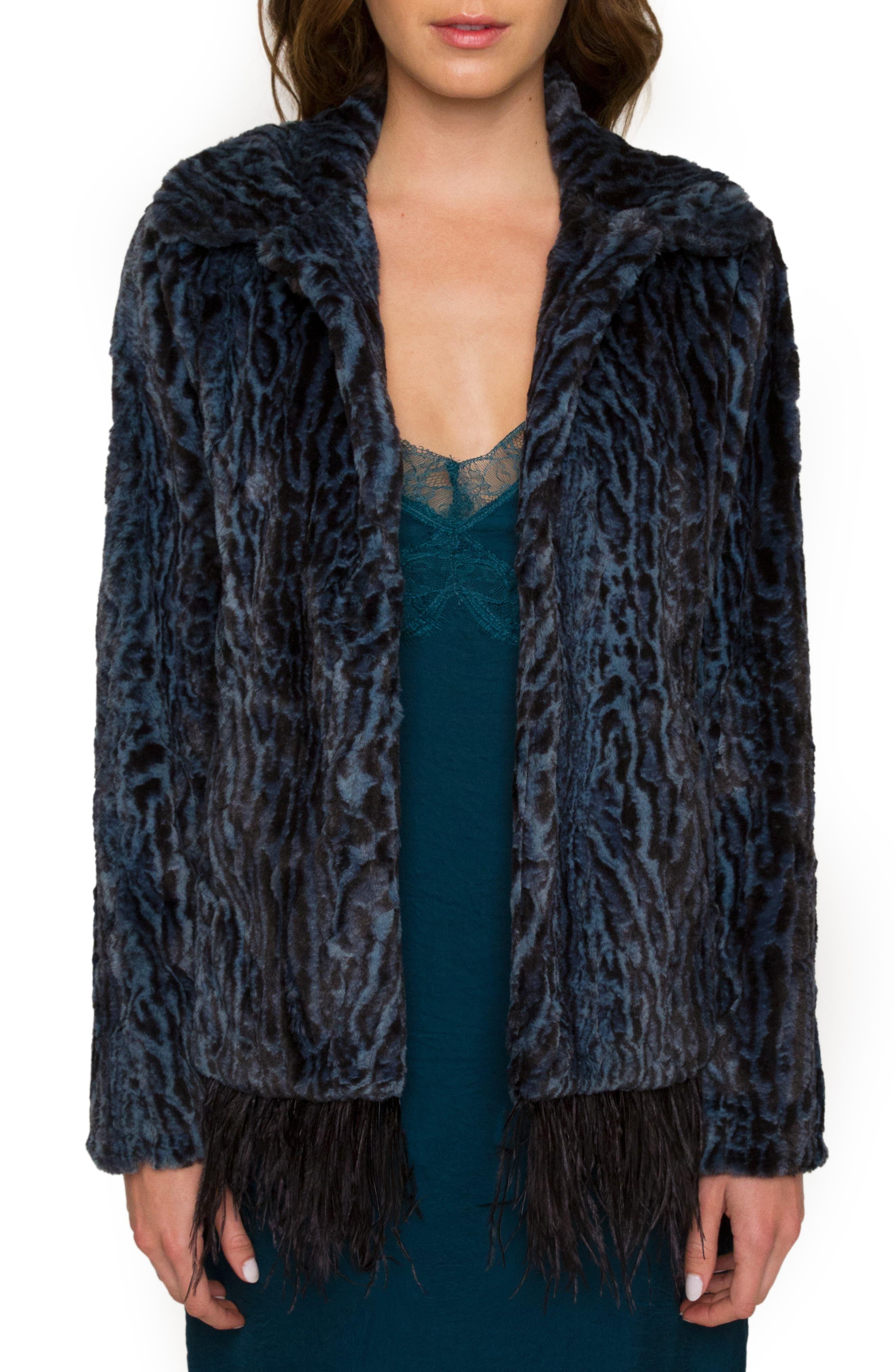Animal Print Faux Fur Jacket,                         Main,                         color, Peacock
