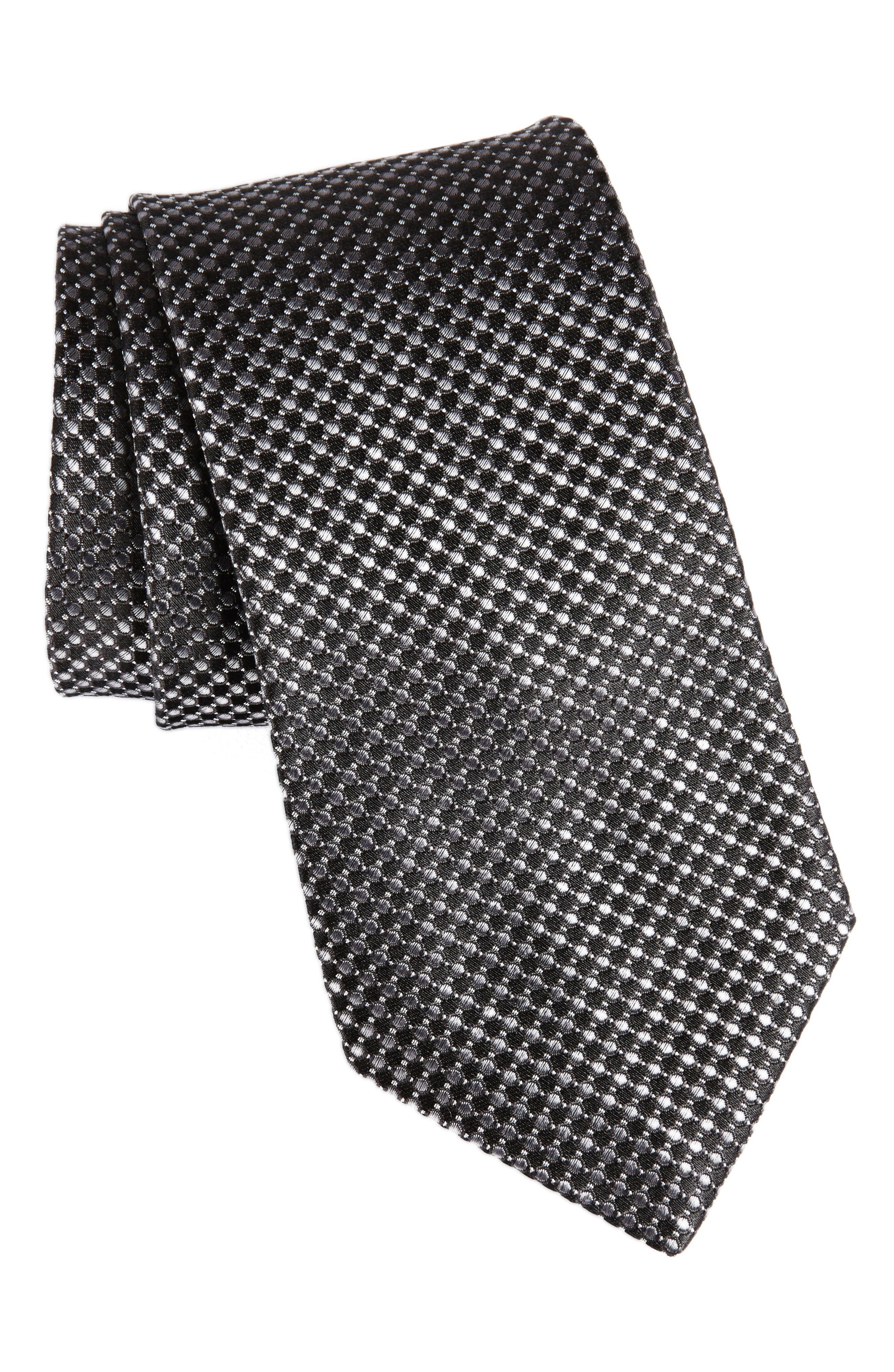 Check Silk Tie,                         Main,                         color, Black