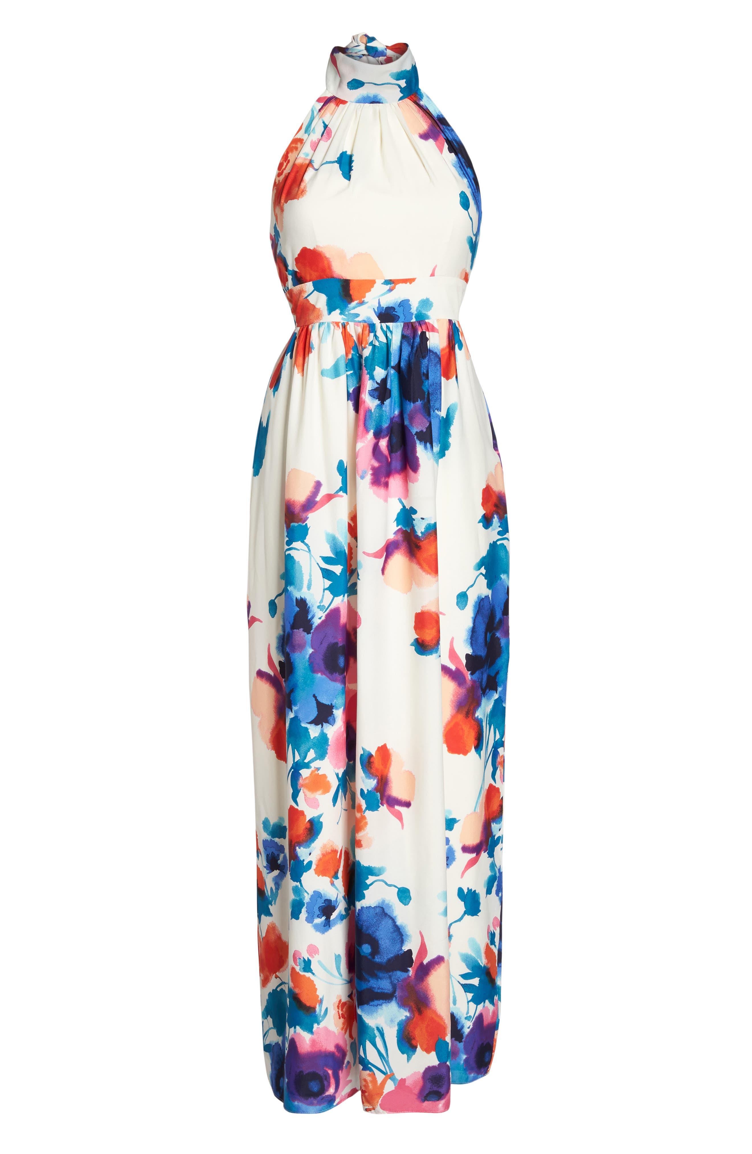 Alternate Image 6  - Eliza J Floral Print Halter Maxi Dress