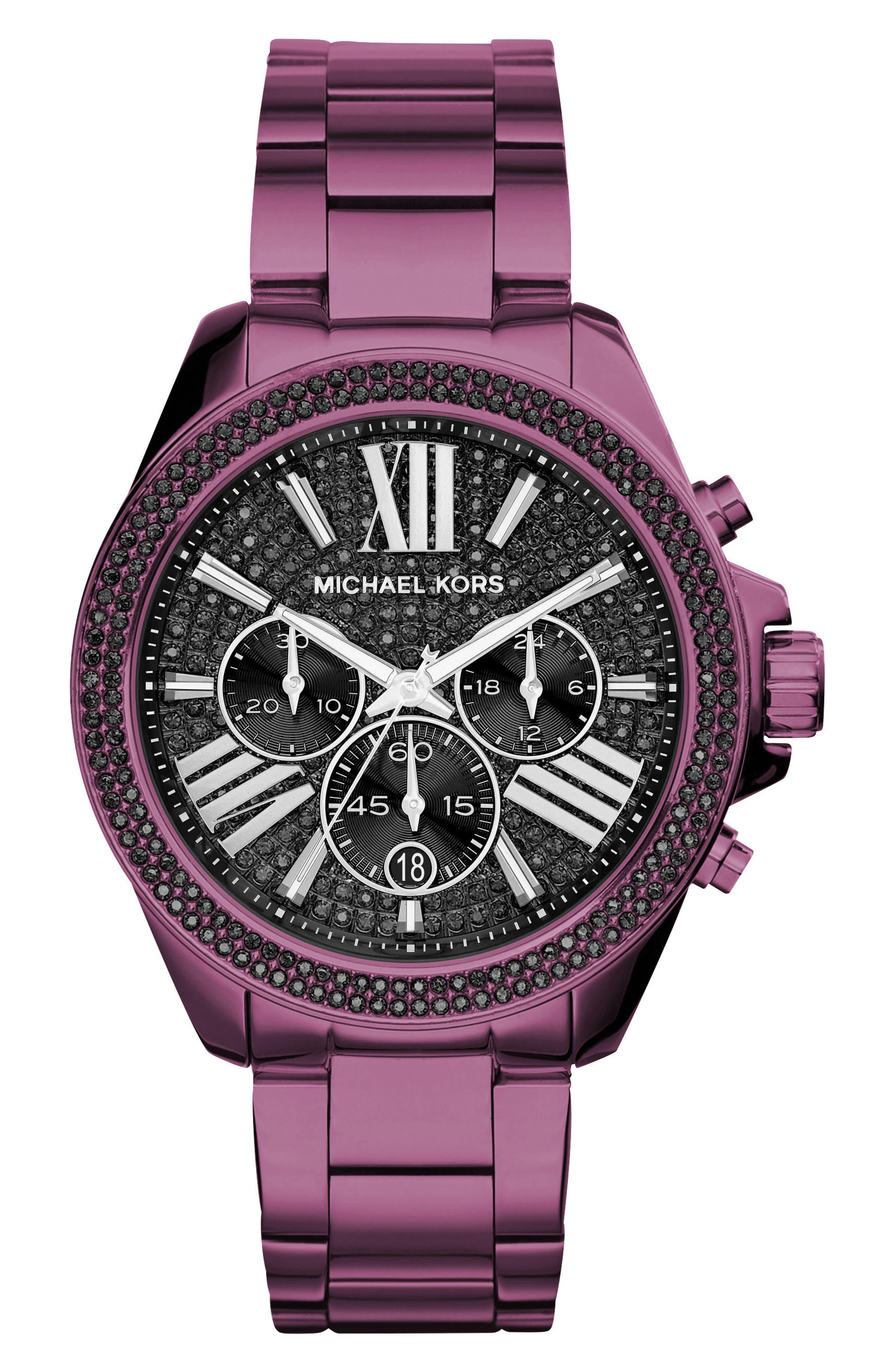 Wren Pavé Chronograph Bracelet Watch, 41.5mm,                         Main,                         color, Purple/ Black/ Purple
