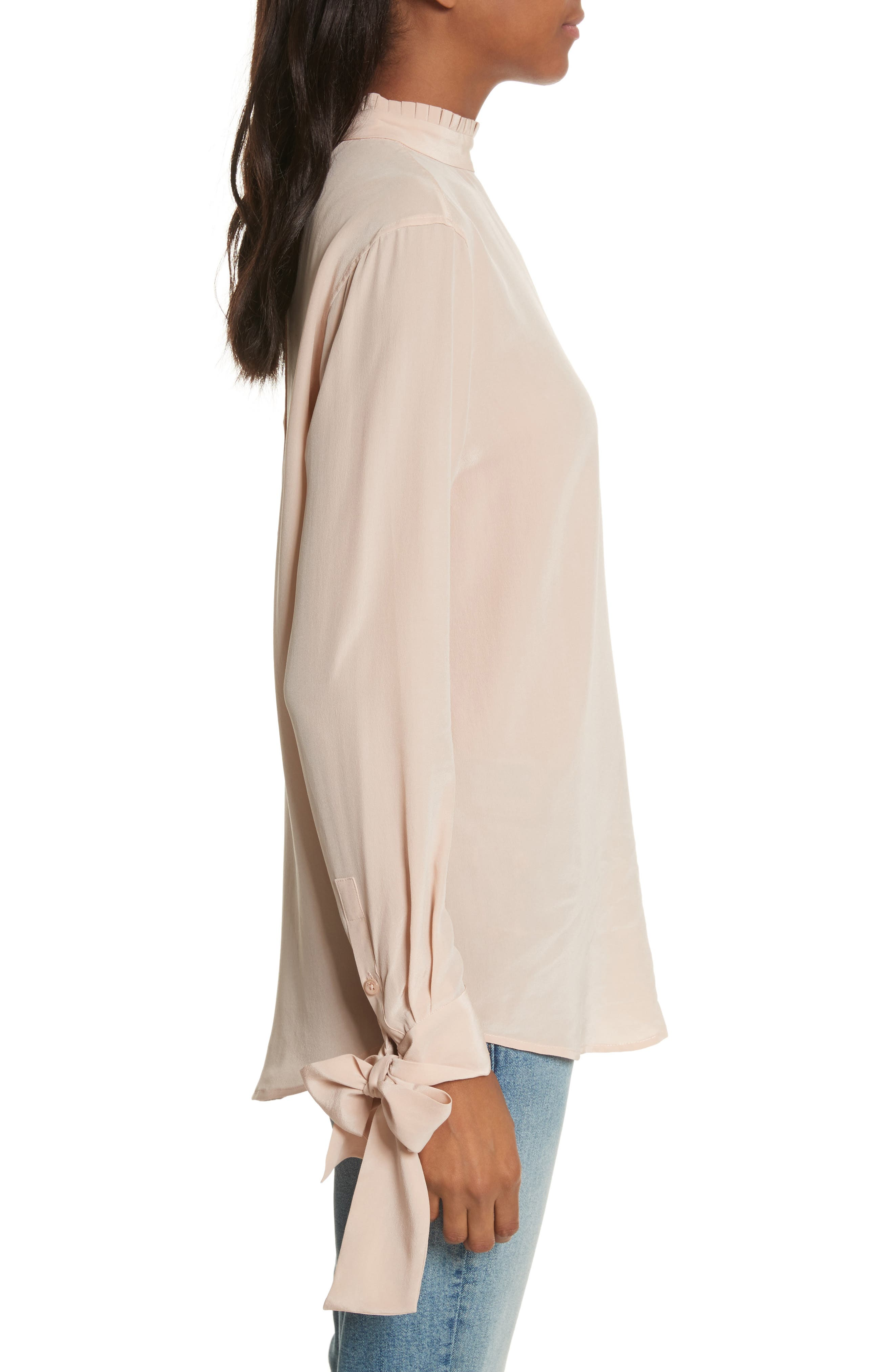 Aurora Tie Sleeve Blouse,                             Alternate thumbnail 3, color,                             French Nude