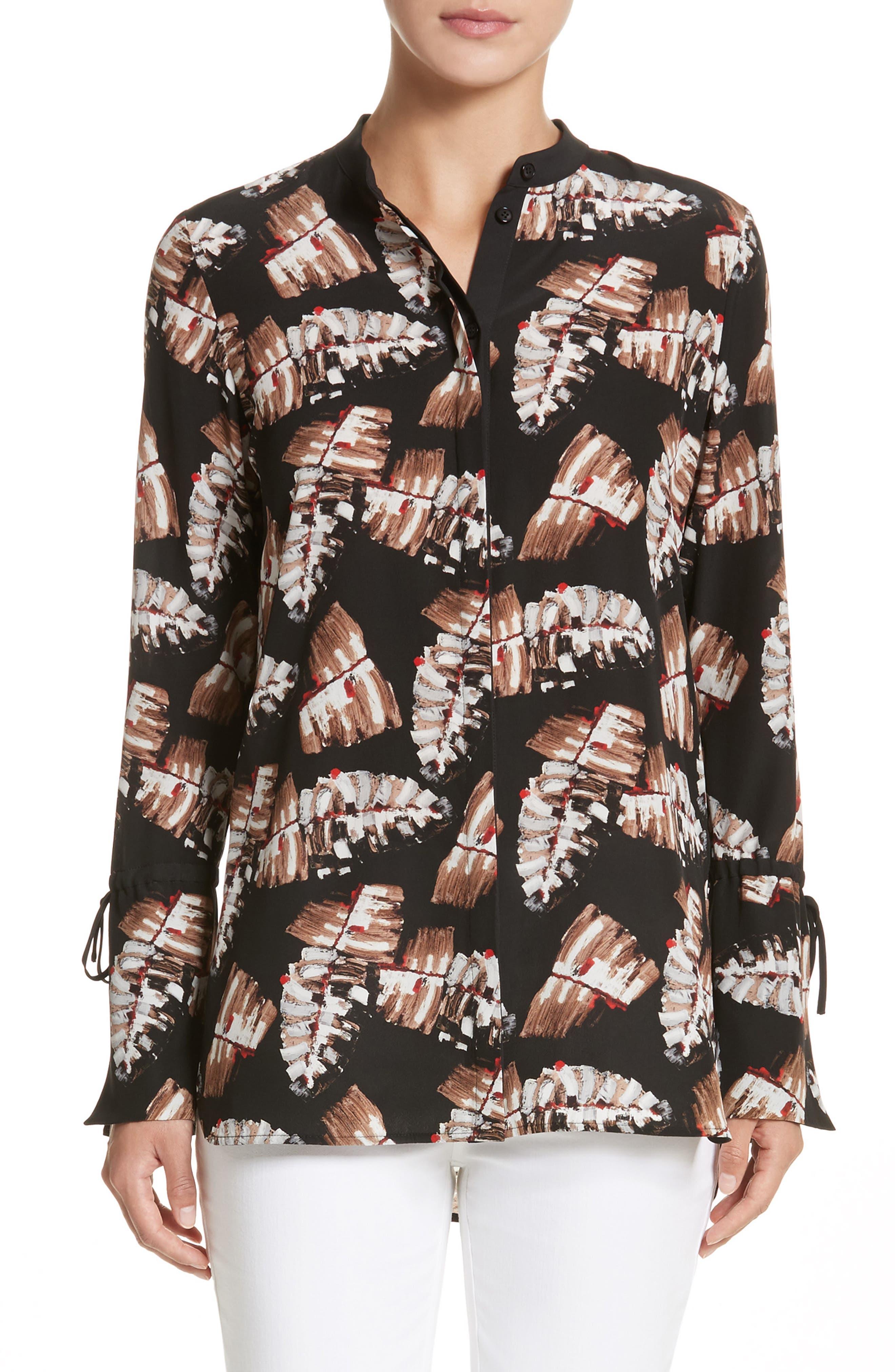 Desra Print Silk Blouse,                         Main,                         color, Black Multi