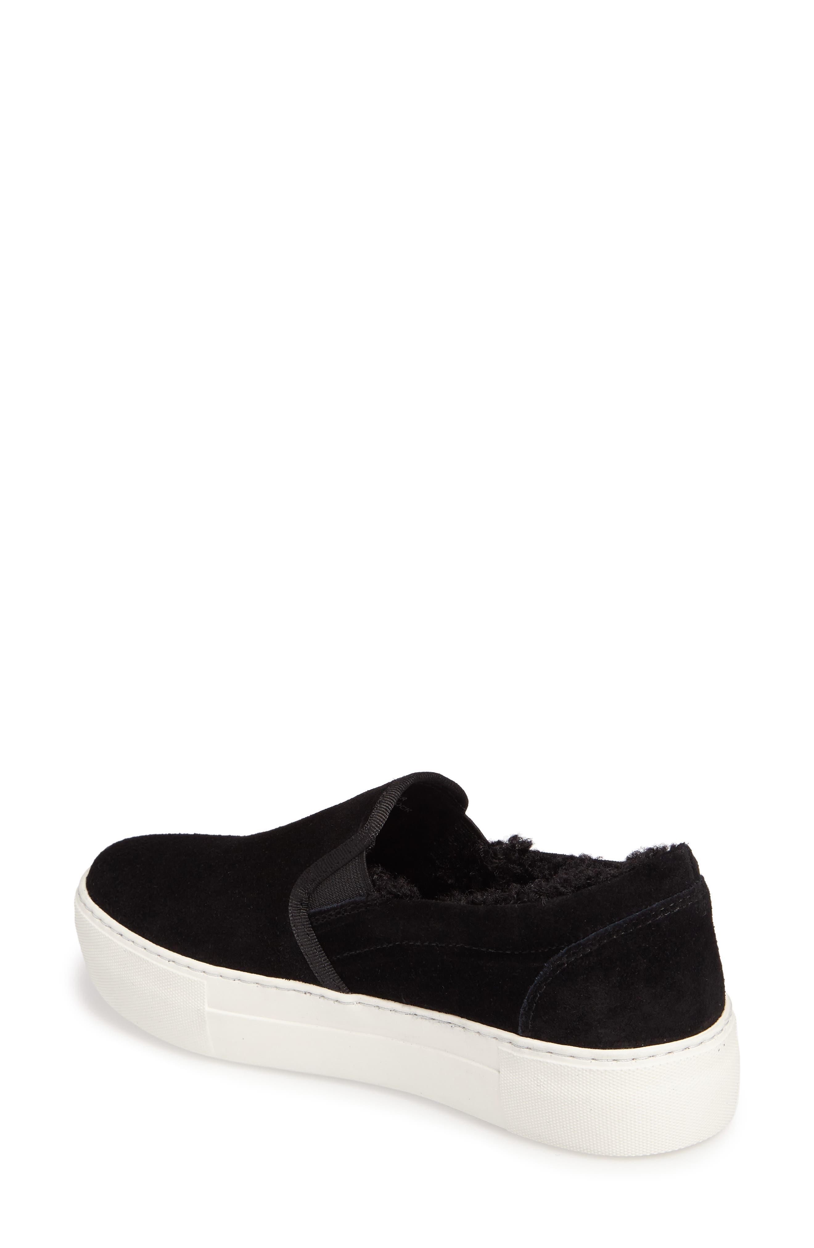 Arpel Faux Fur Lined Slip-On Sneaker,                             Alternate thumbnail 2, color,                             Black Suede