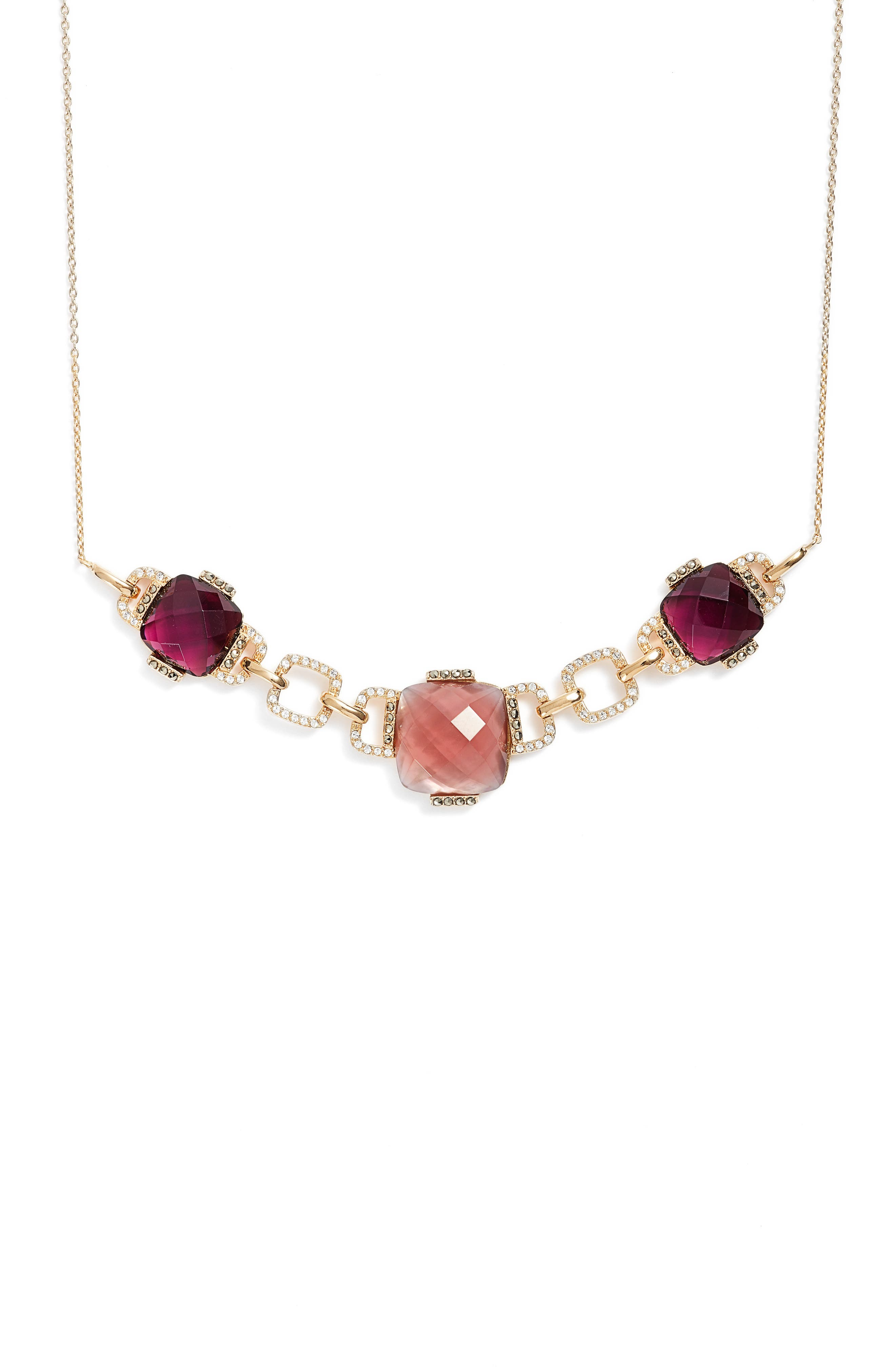 Frontal Collar Necklace,                             Alternate thumbnail 2, color,                             Blush/ Gold