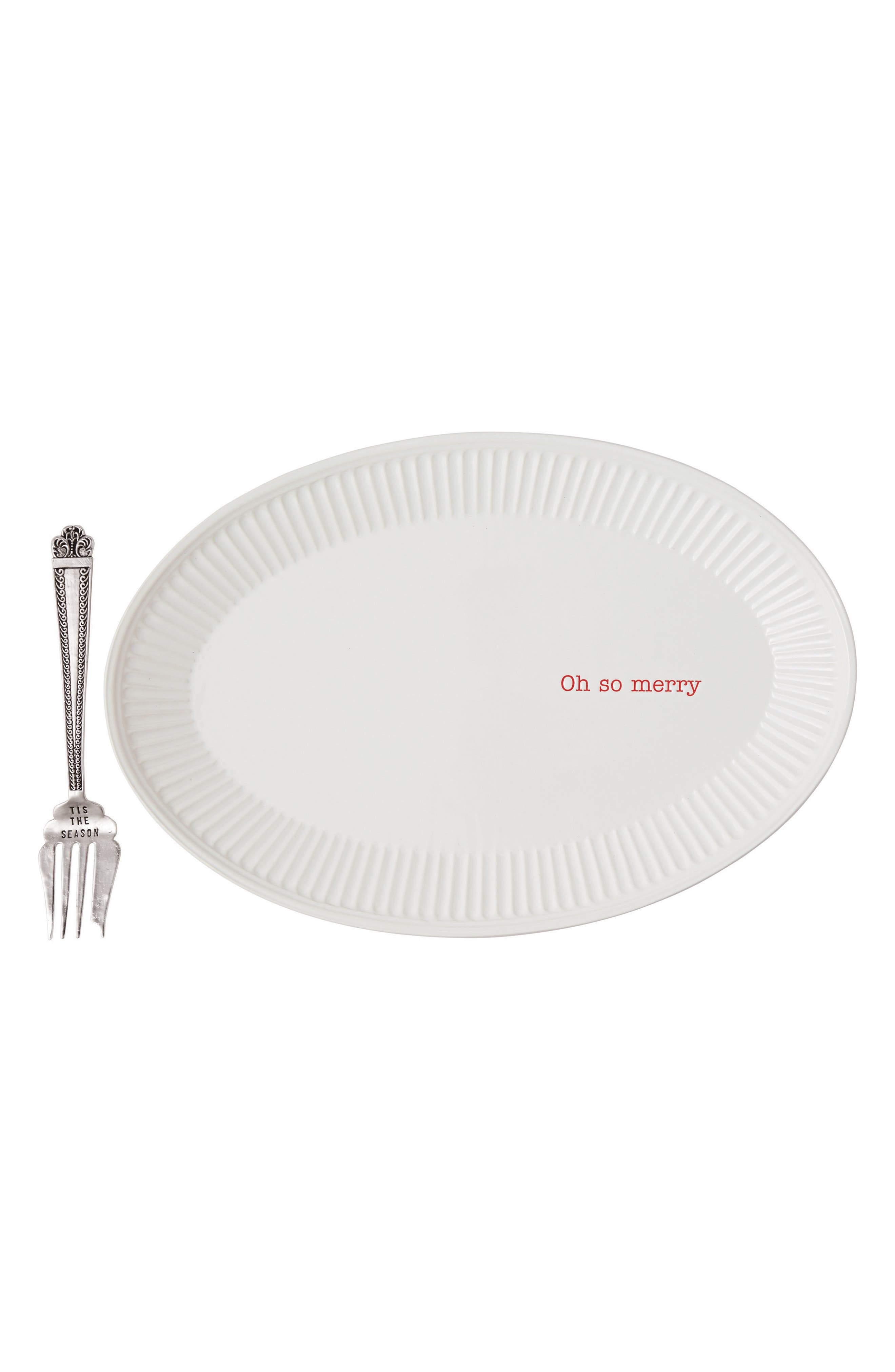 Alternate Image 1 Selected - Mud Pie Oh So Merry Ceramic Platter & Serving Fork