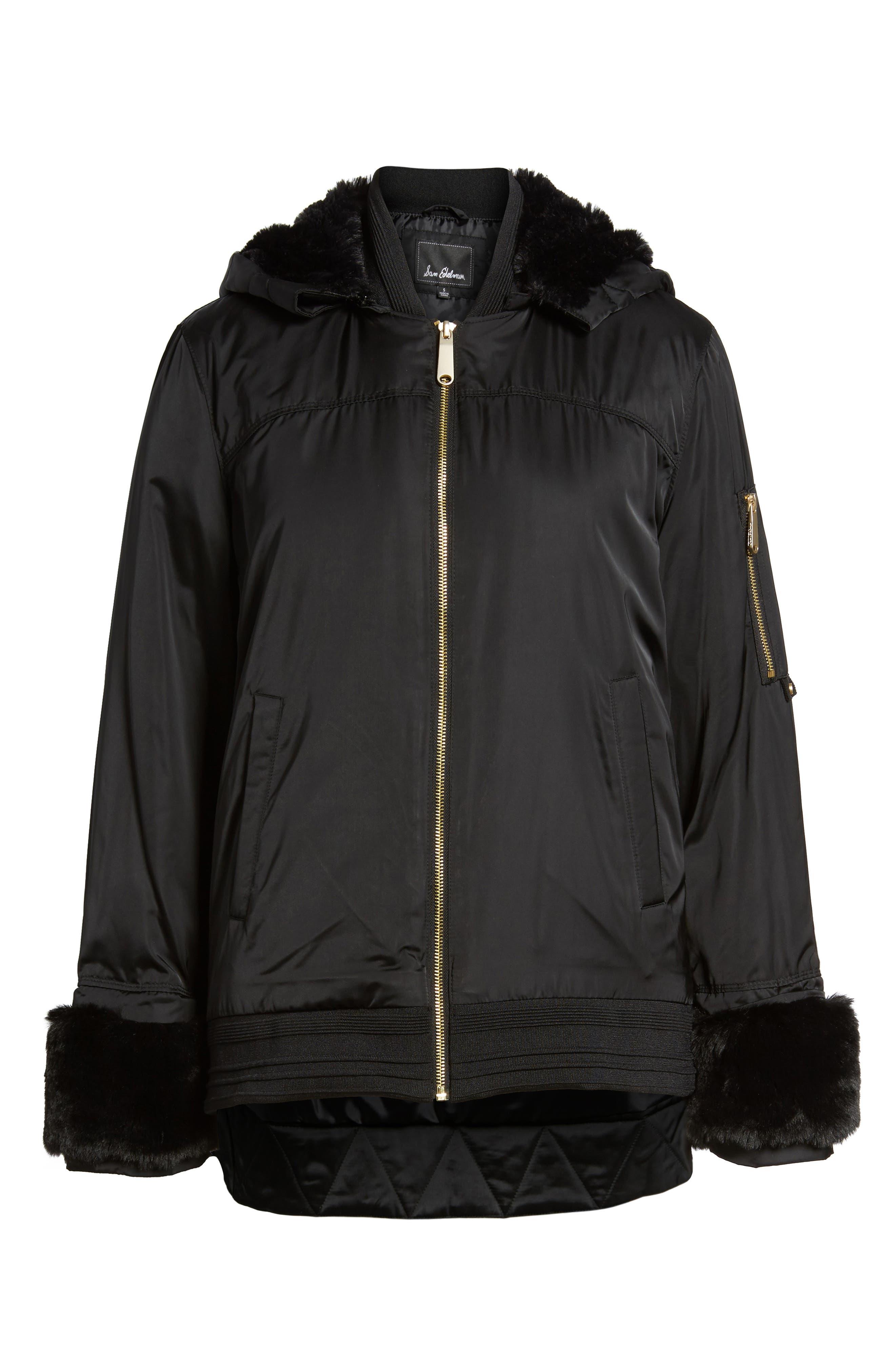 Faux Fur Trim Military Jacket,                             Alternate thumbnail 6, color,                             Black