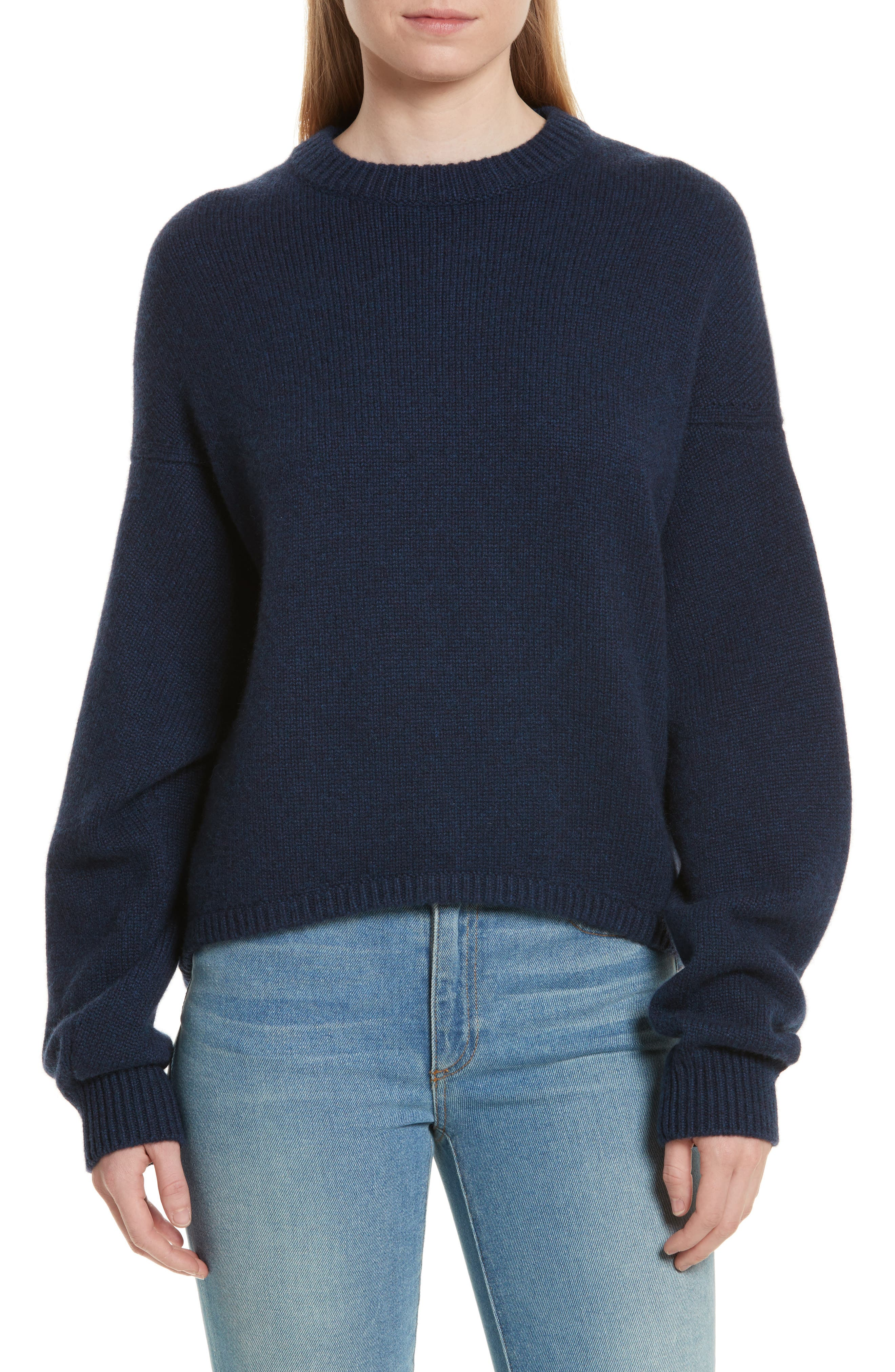 Sculpted Sleeve High/Low Cashmere Sweater,                         Main,                         color, Navy