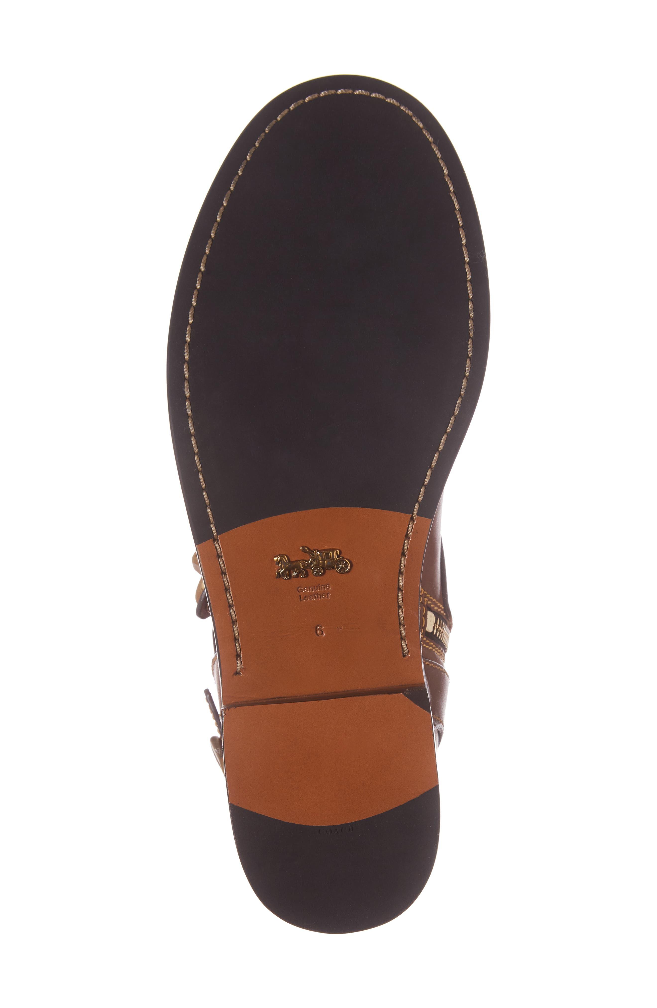 Moto Bootie,                             Alternate thumbnail 6, color,                             Dark Saddle Leather