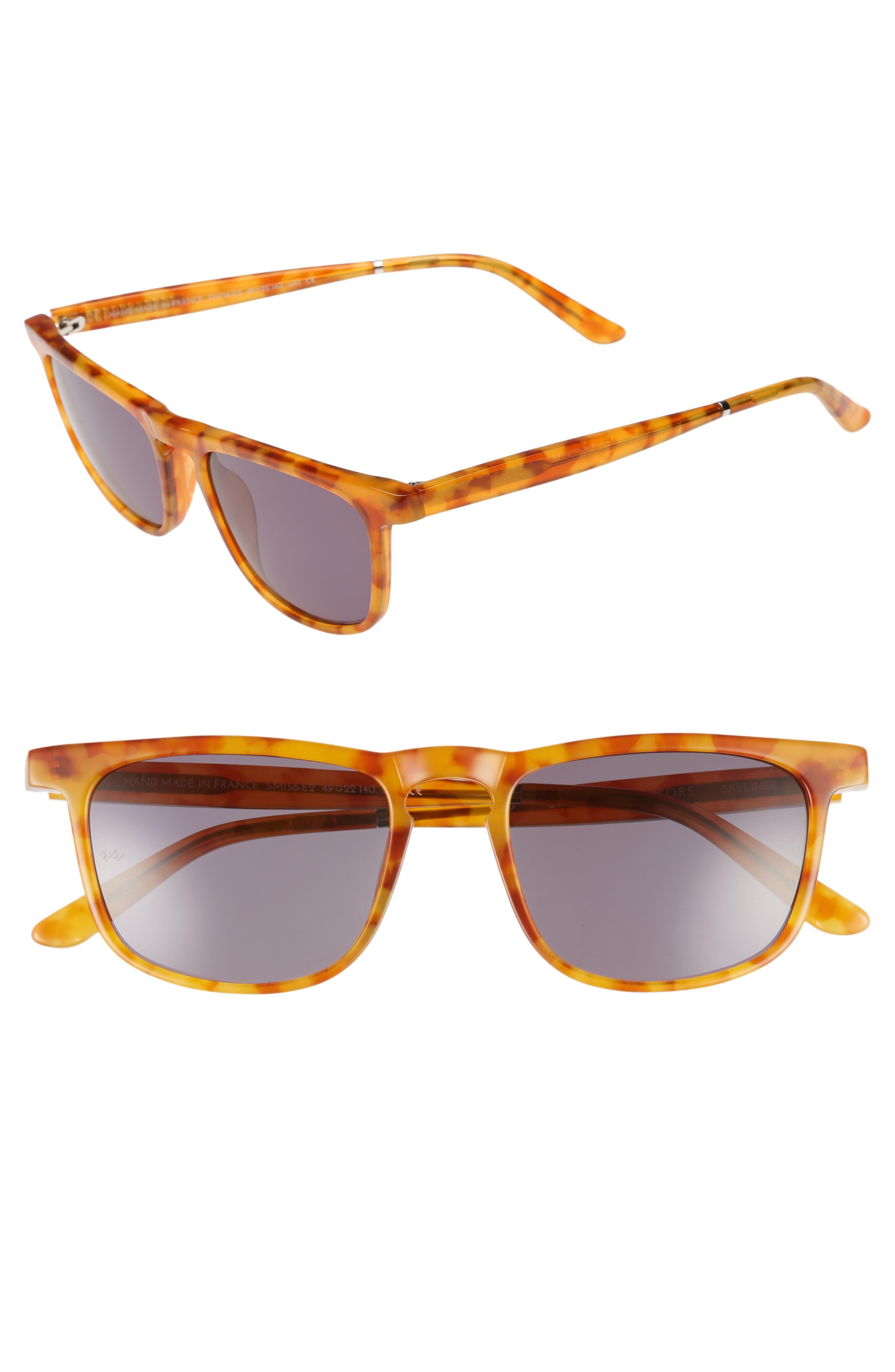 Skyliner 49mm Sunglasses,                         Main,                         color, Ginger Tortoise/ Green