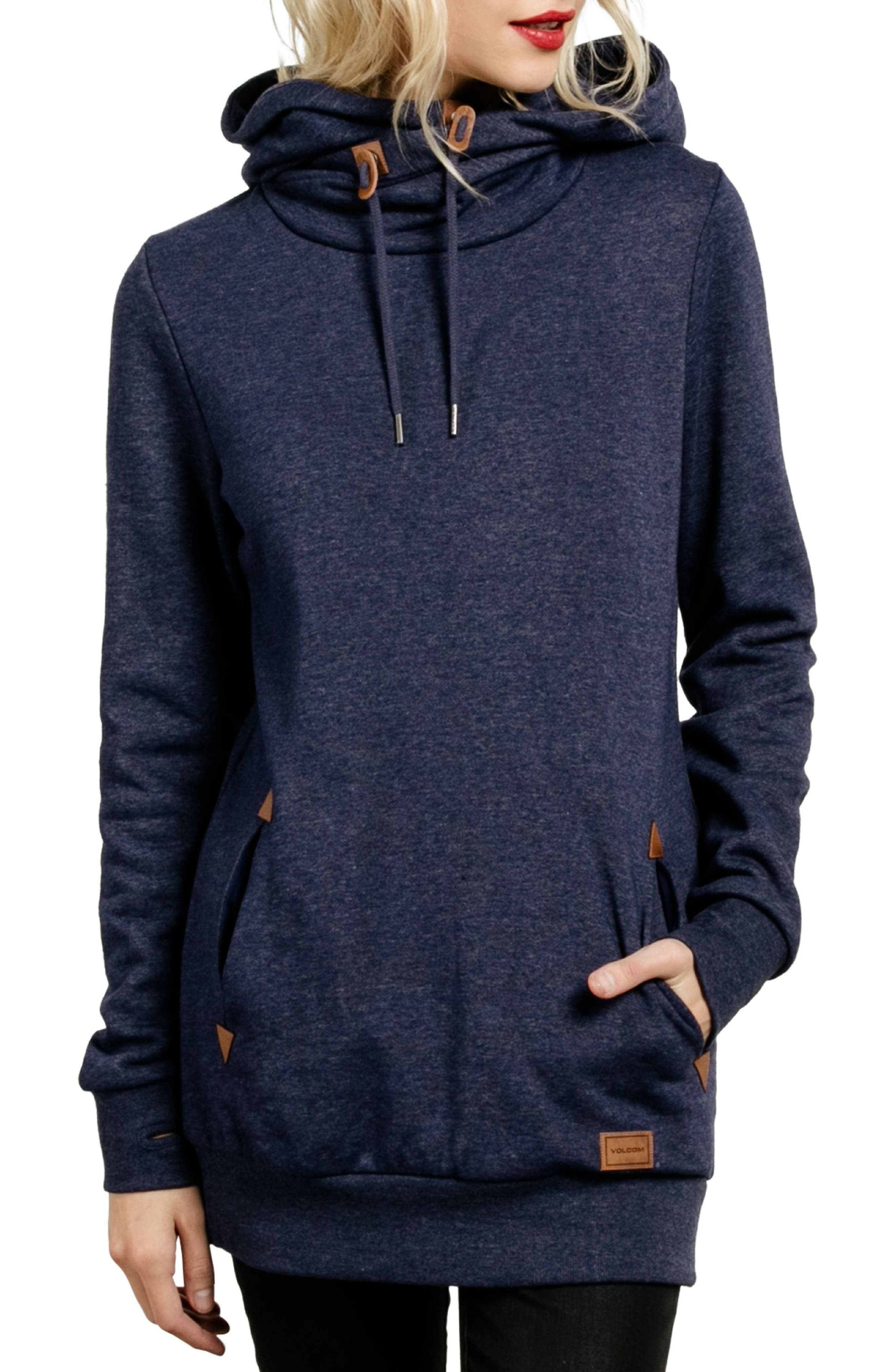 Walk on By Funnel Neck Hoodie,                         Main,                         color, Midnight Blue