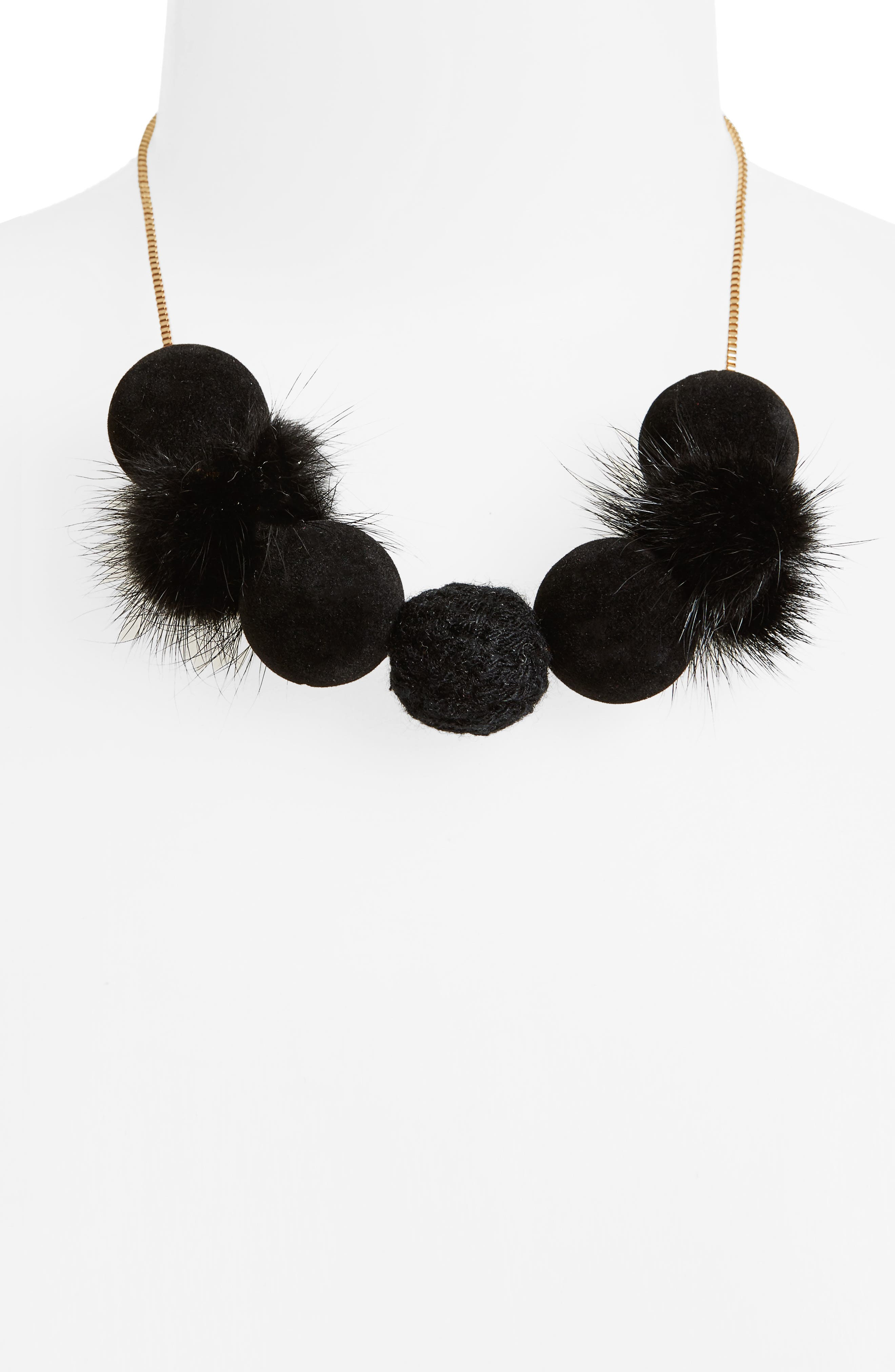 Fuzzy Pompom Necklace,                             Alternate thumbnail 2, color,                             Black