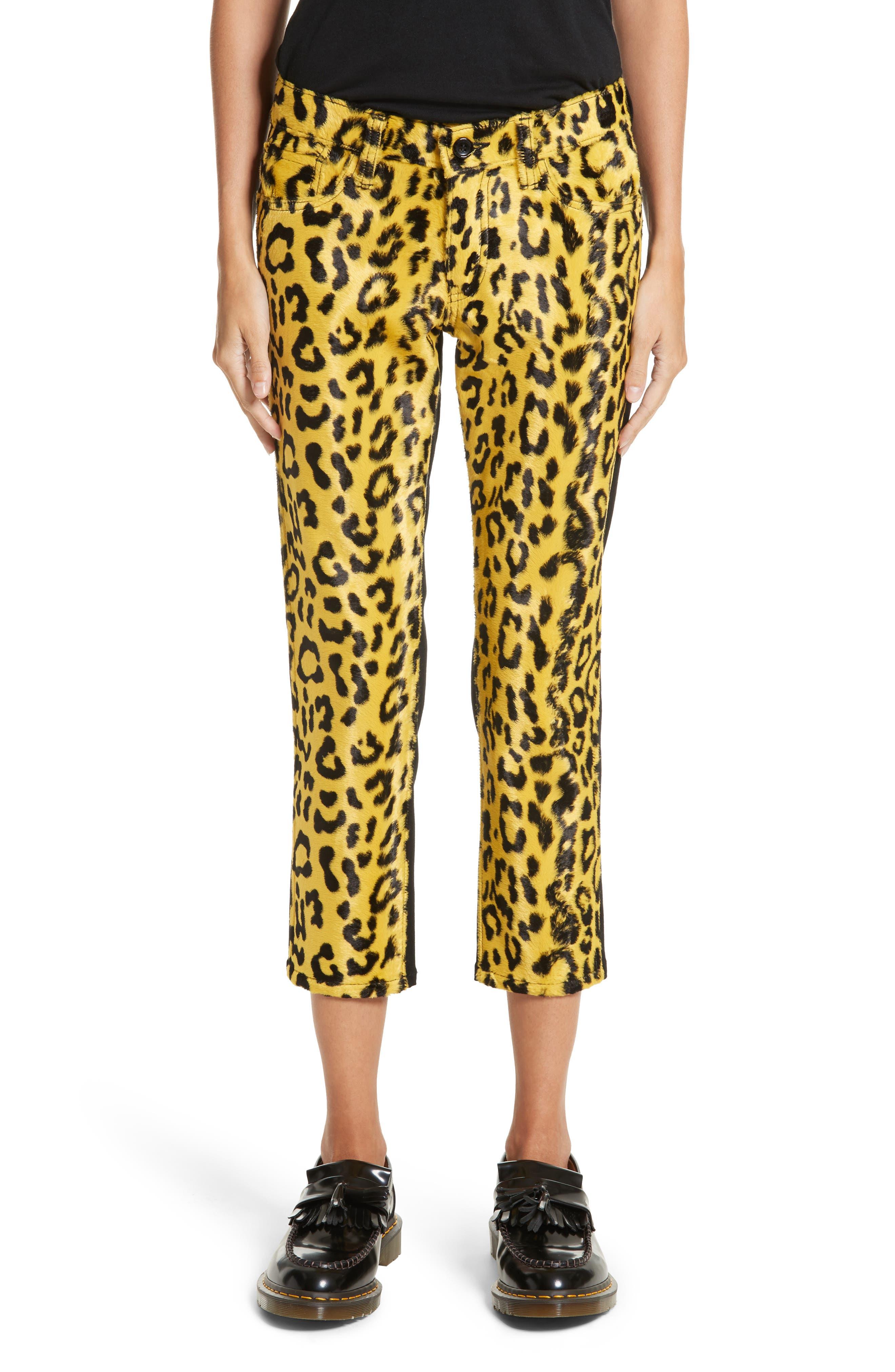 Junya Watanabe Cheetah Print Crop Skinny Pants