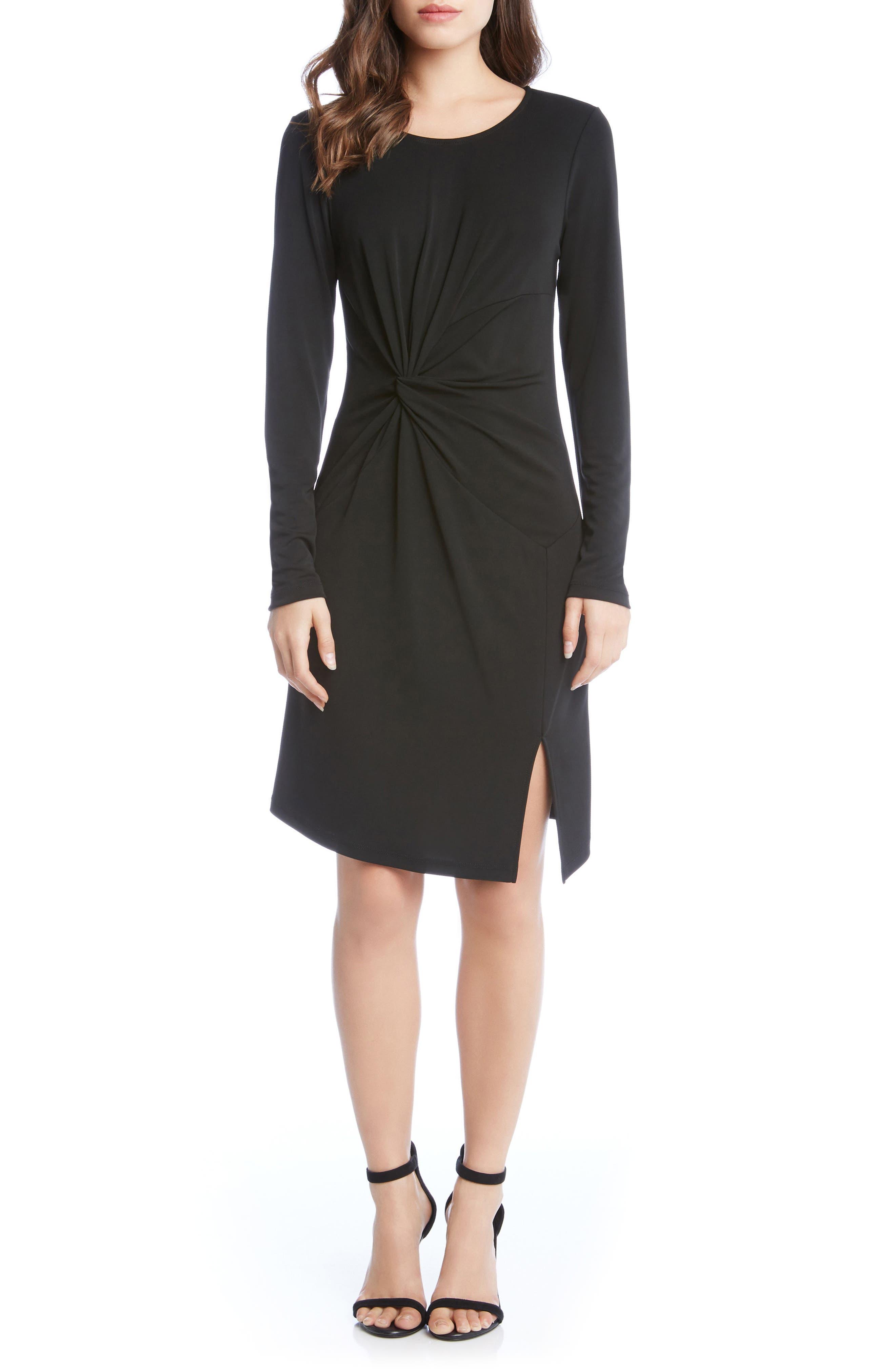 Isabella Side Twist Dress,                             Main thumbnail 1, color,                             Black