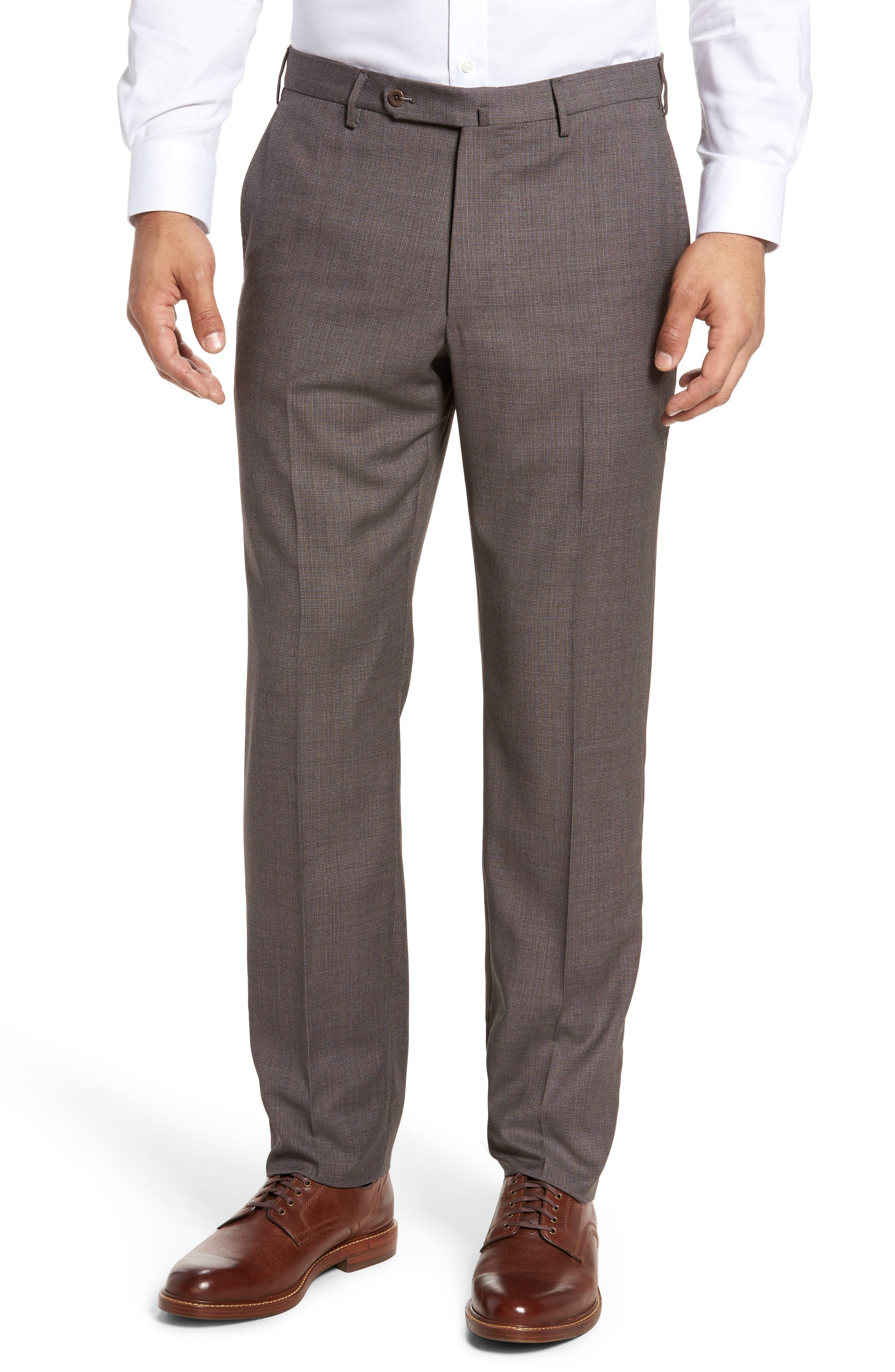 Benson Flat Front Wool Trousers,                         Main,                         color, Medium Brown