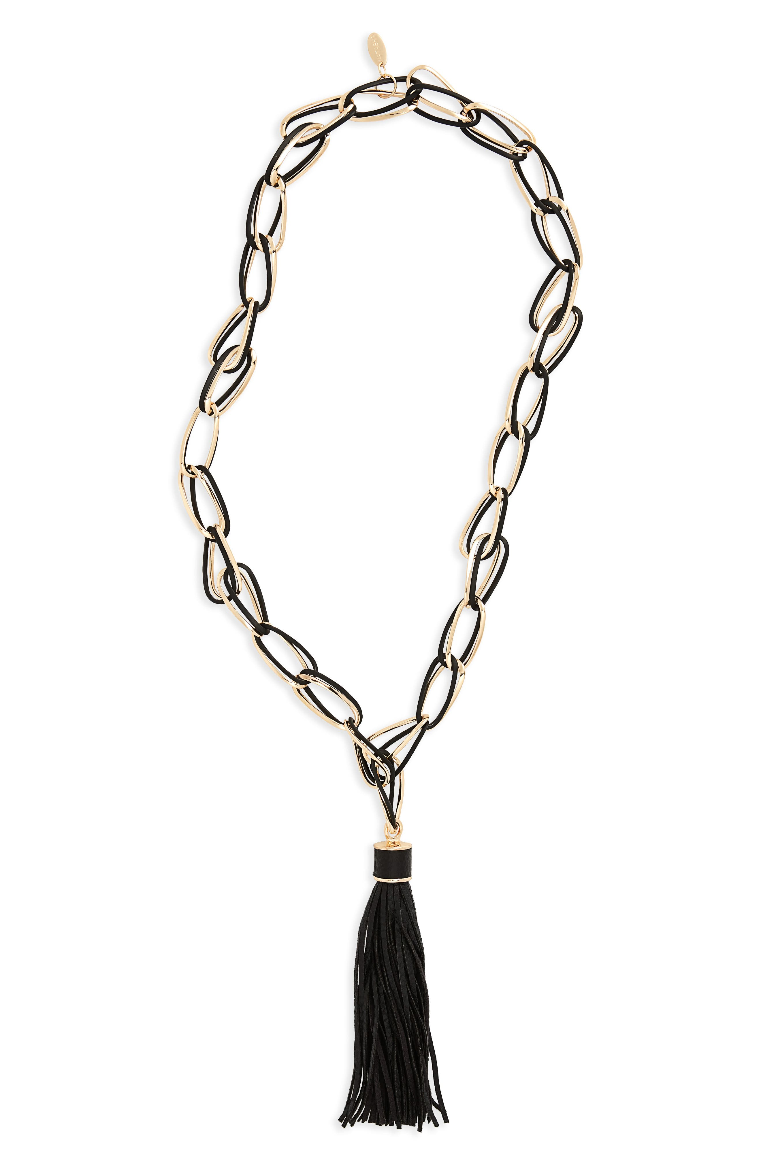 Link Tassel Necklace,                             Main thumbnail 1, color,                             Black/ Gold