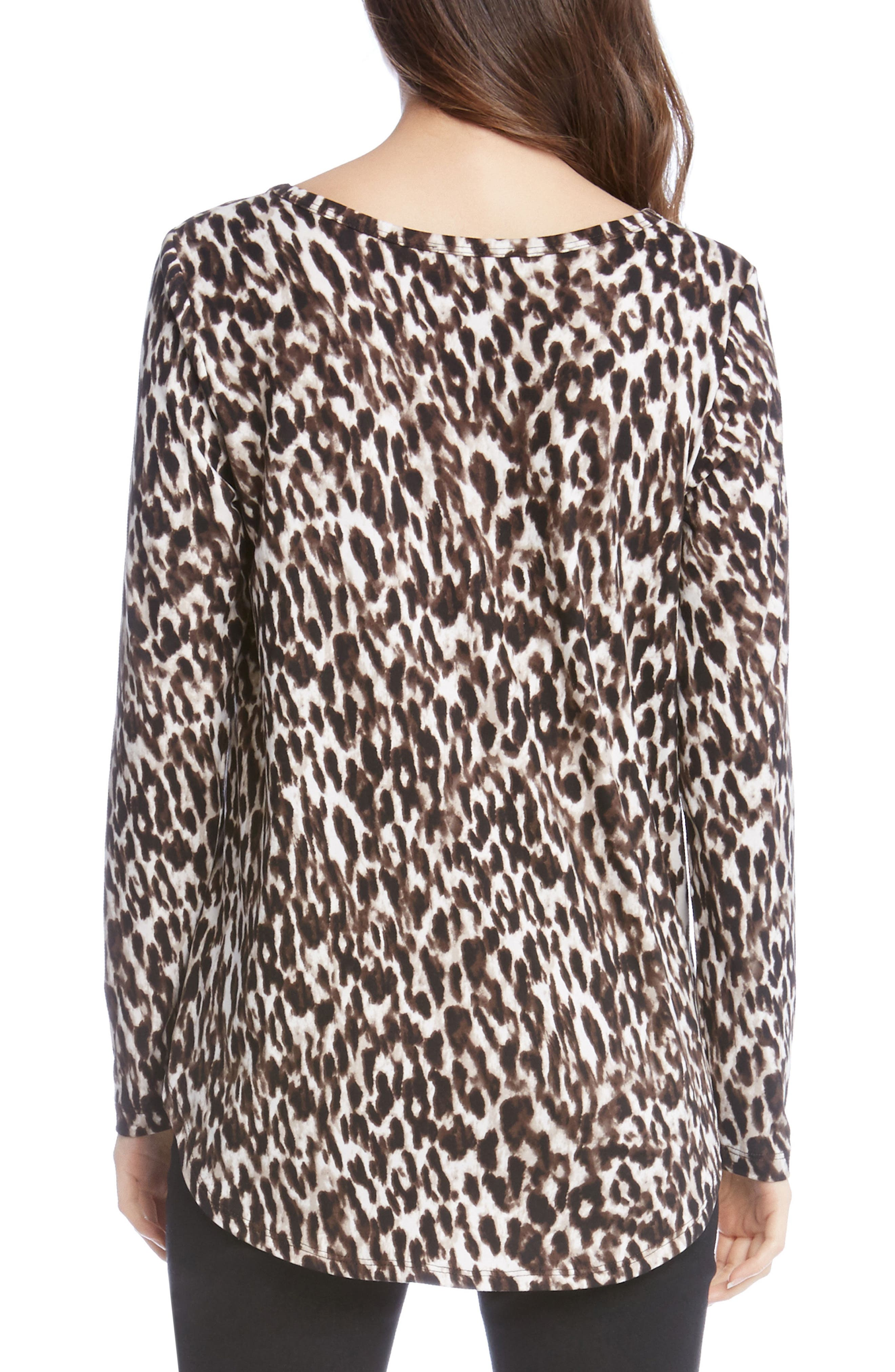 Brushed Knit Tee,                             Alternate thumbnail 2, color,                             Leopard