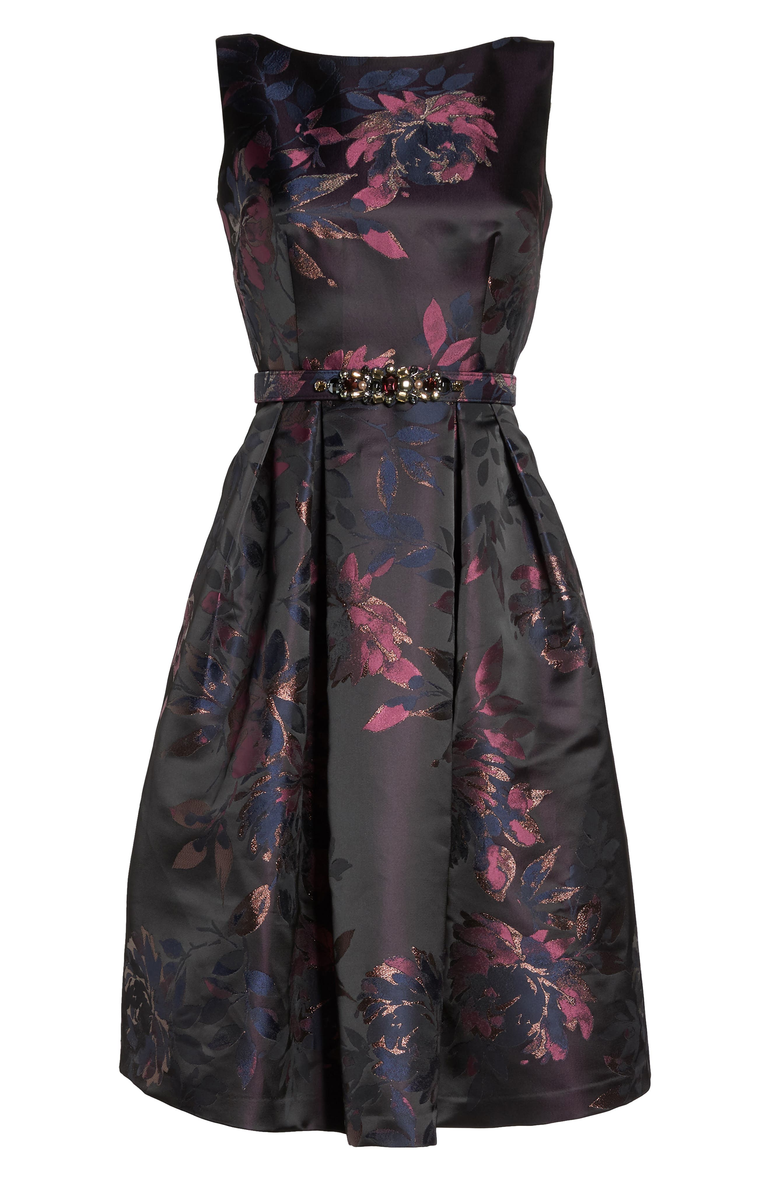 Brocade Fit & Flare Dress,                             Alternate thumbnail 7, color,                             Navy/ Pink