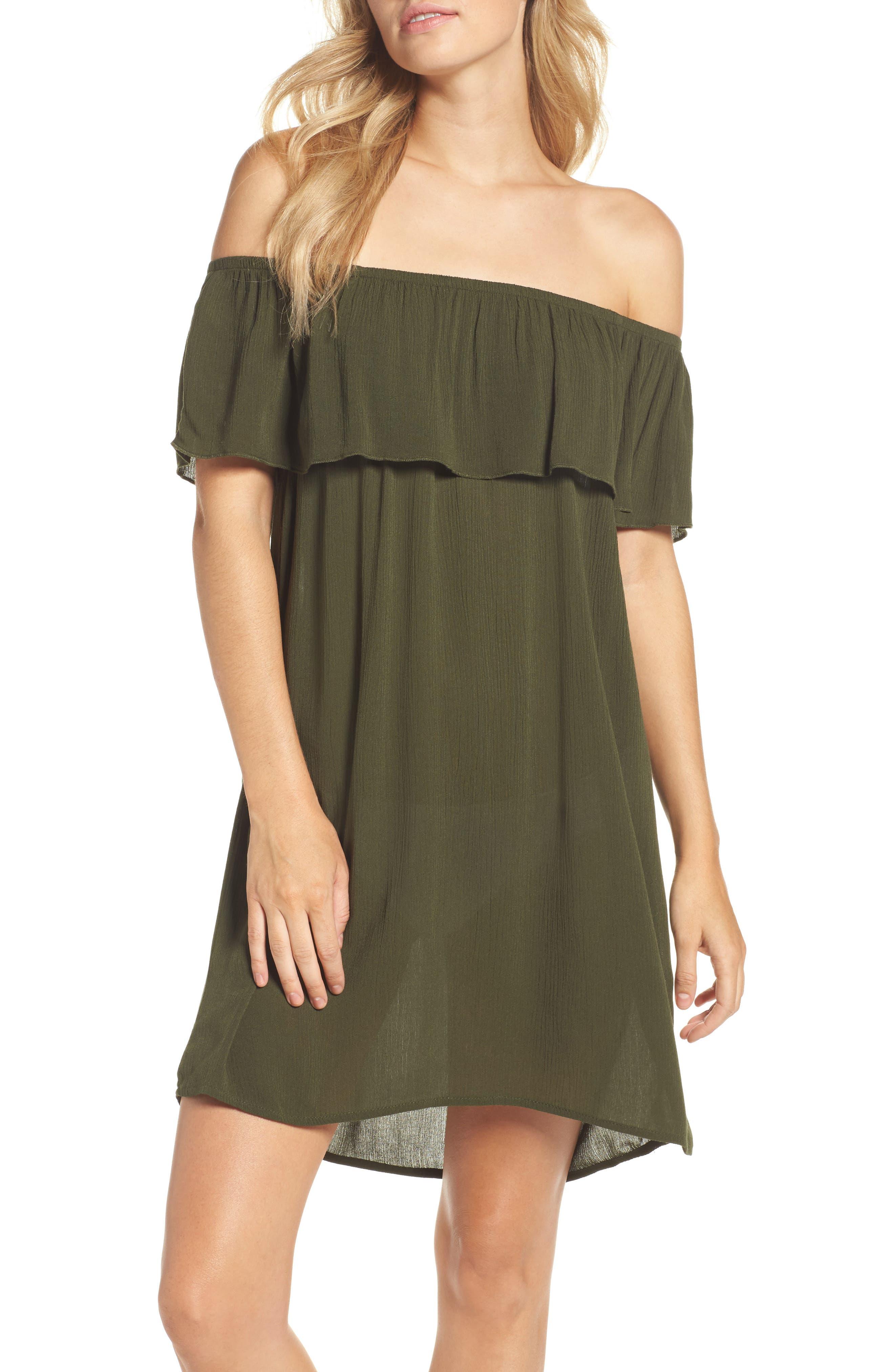 Southern Belle Off the Shoulder Cover-Up Dress,                         Main,                         color, Bay Leaf