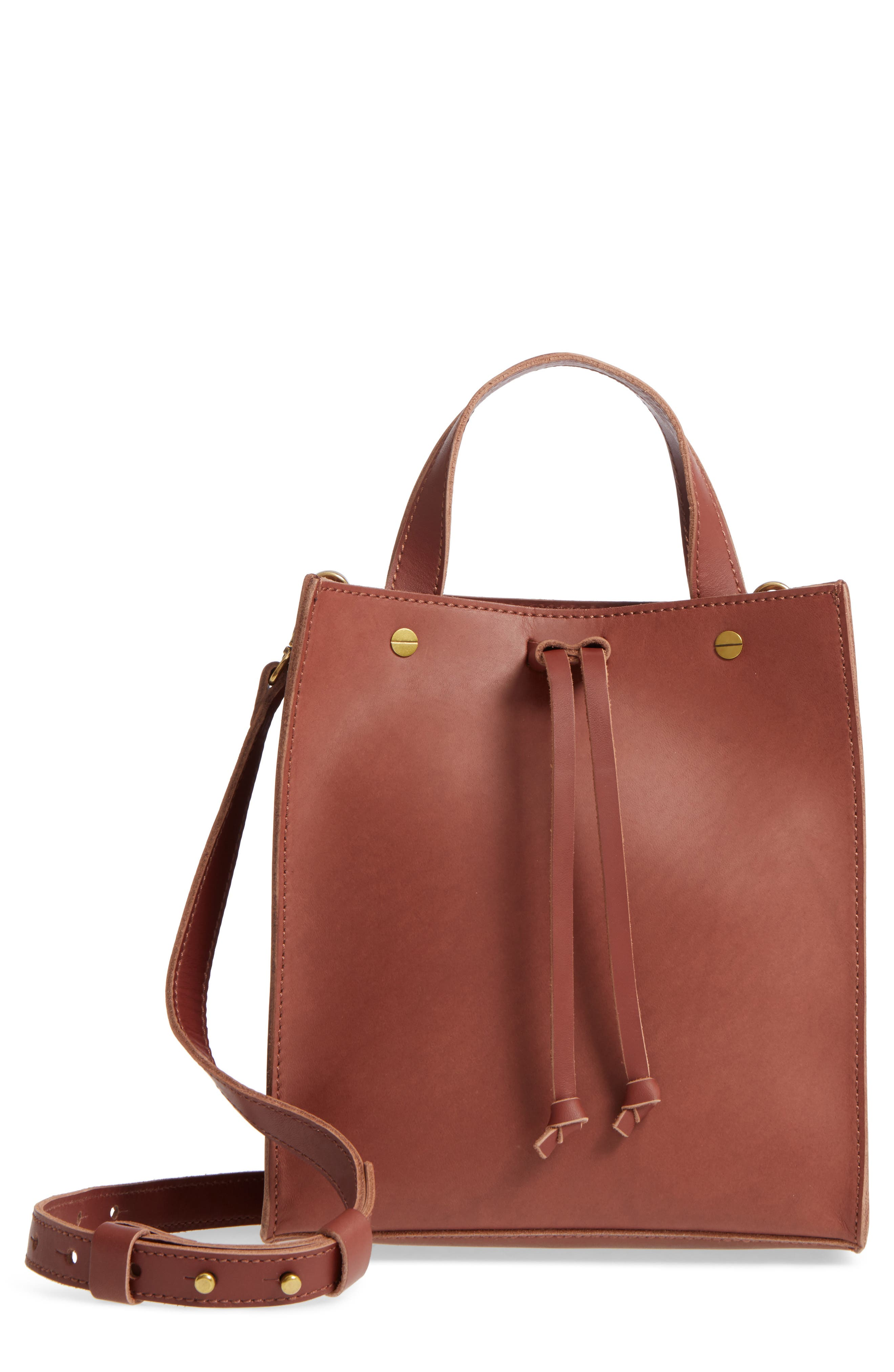 Small Trick Leather Top Handle Tote,                         Main,                         color, Rich Brown