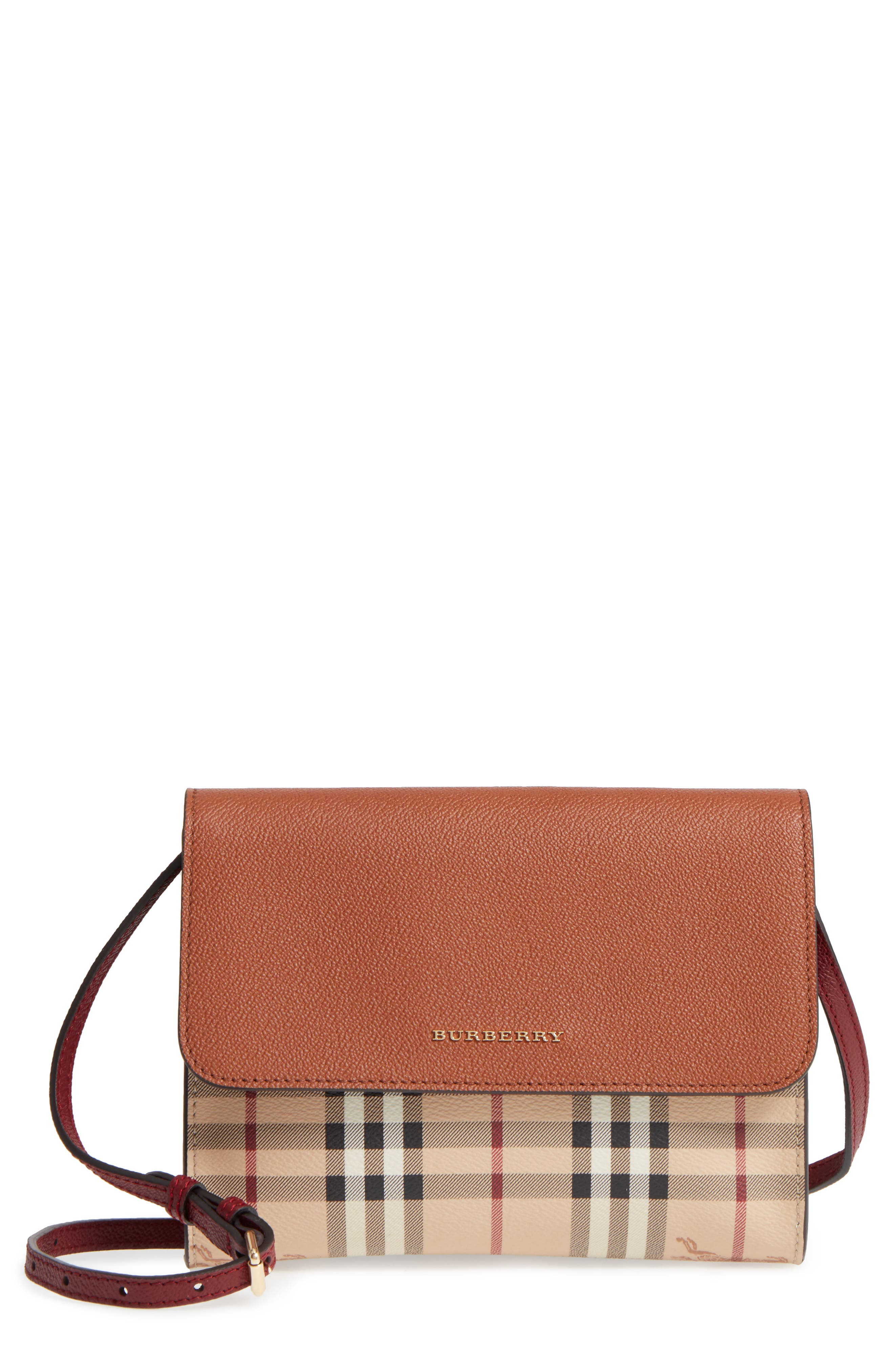 Burberry Peyton Check Coated Canvas & Leather Crossbody Bag