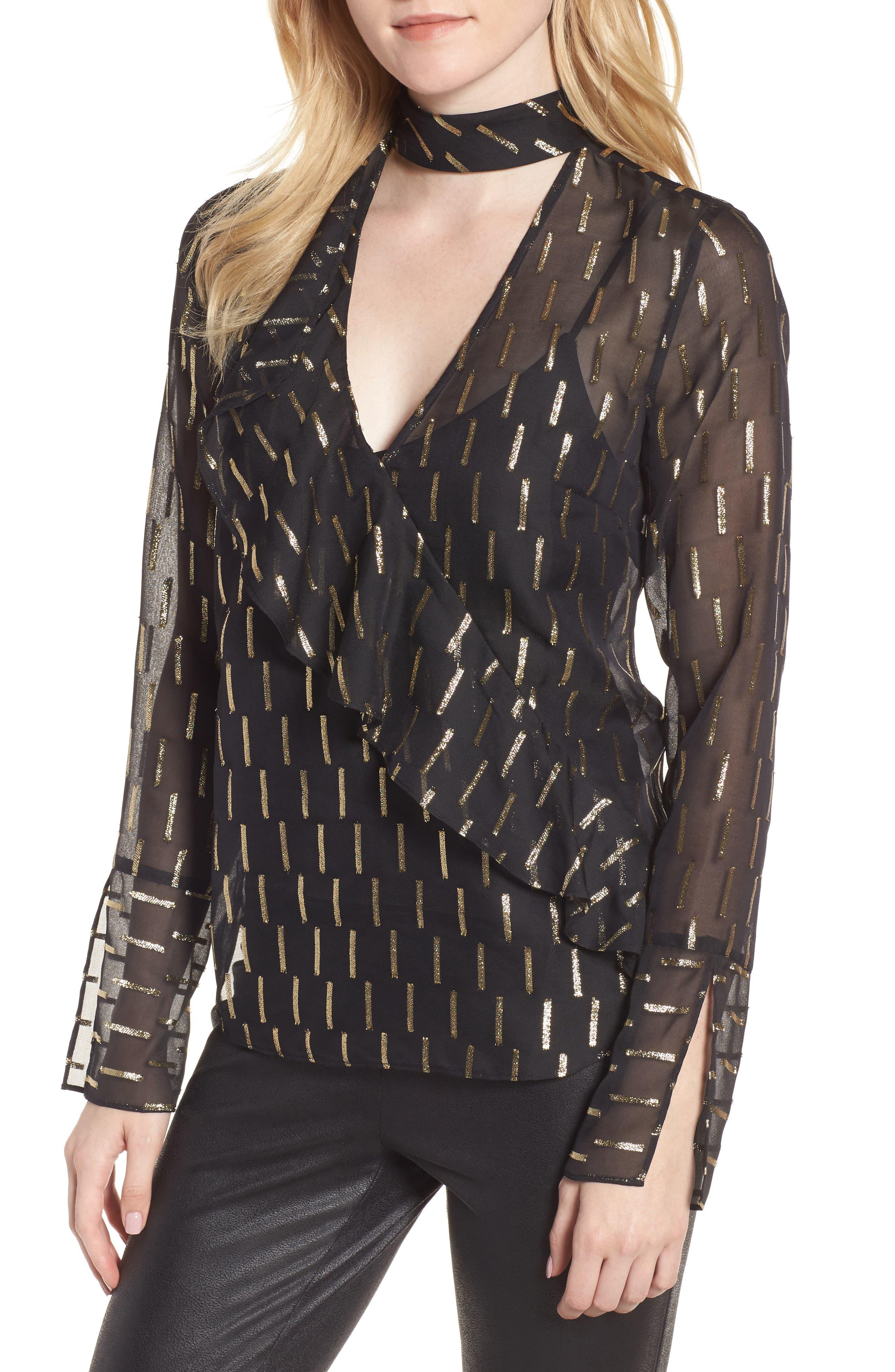 Metallic Stripe Choker Top,                         Main,                         color, Black- Gold Combo