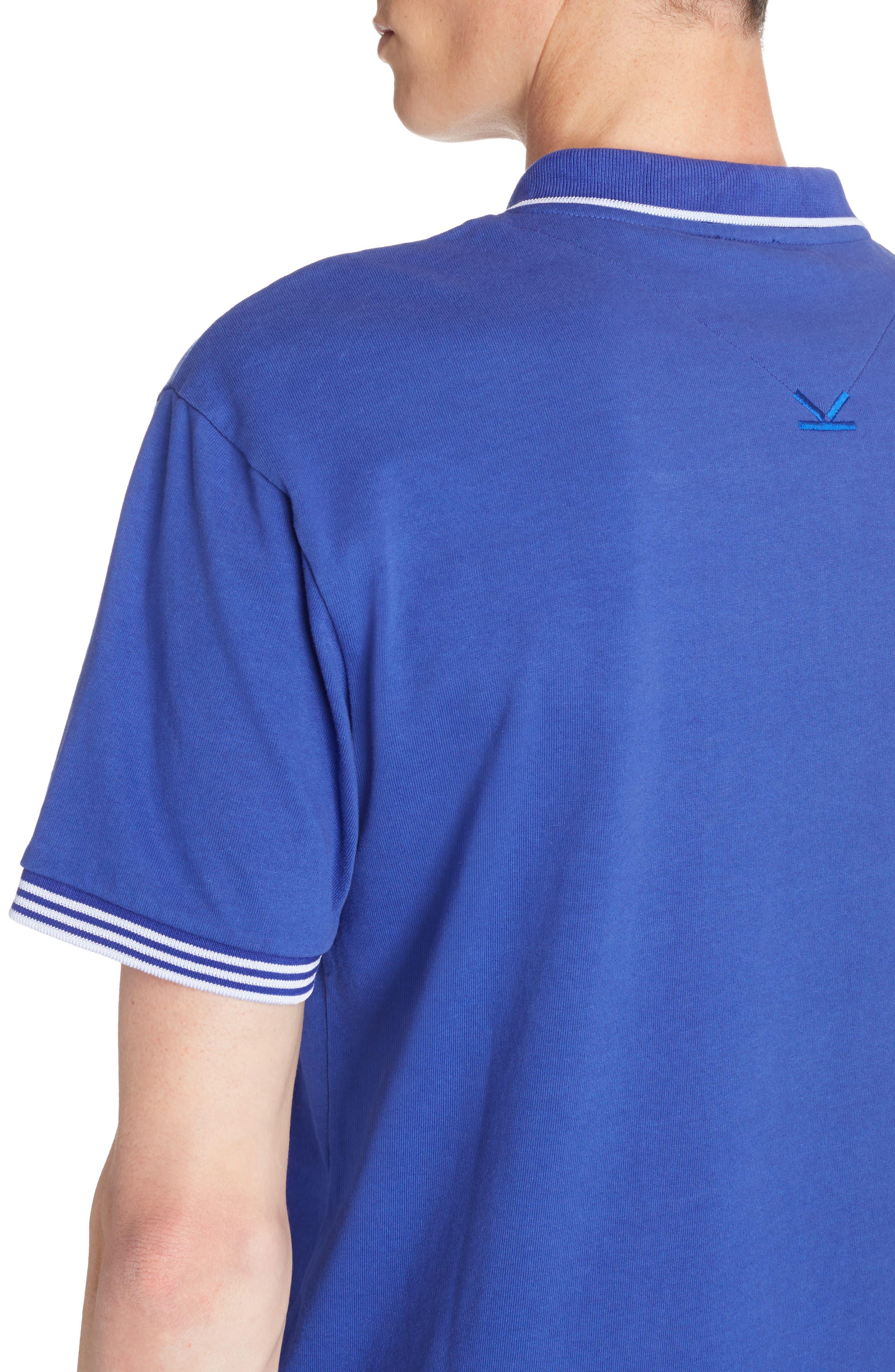Logo Hem Tipped Polo,                             Alternate thumbnail 4, color,                             French Blue