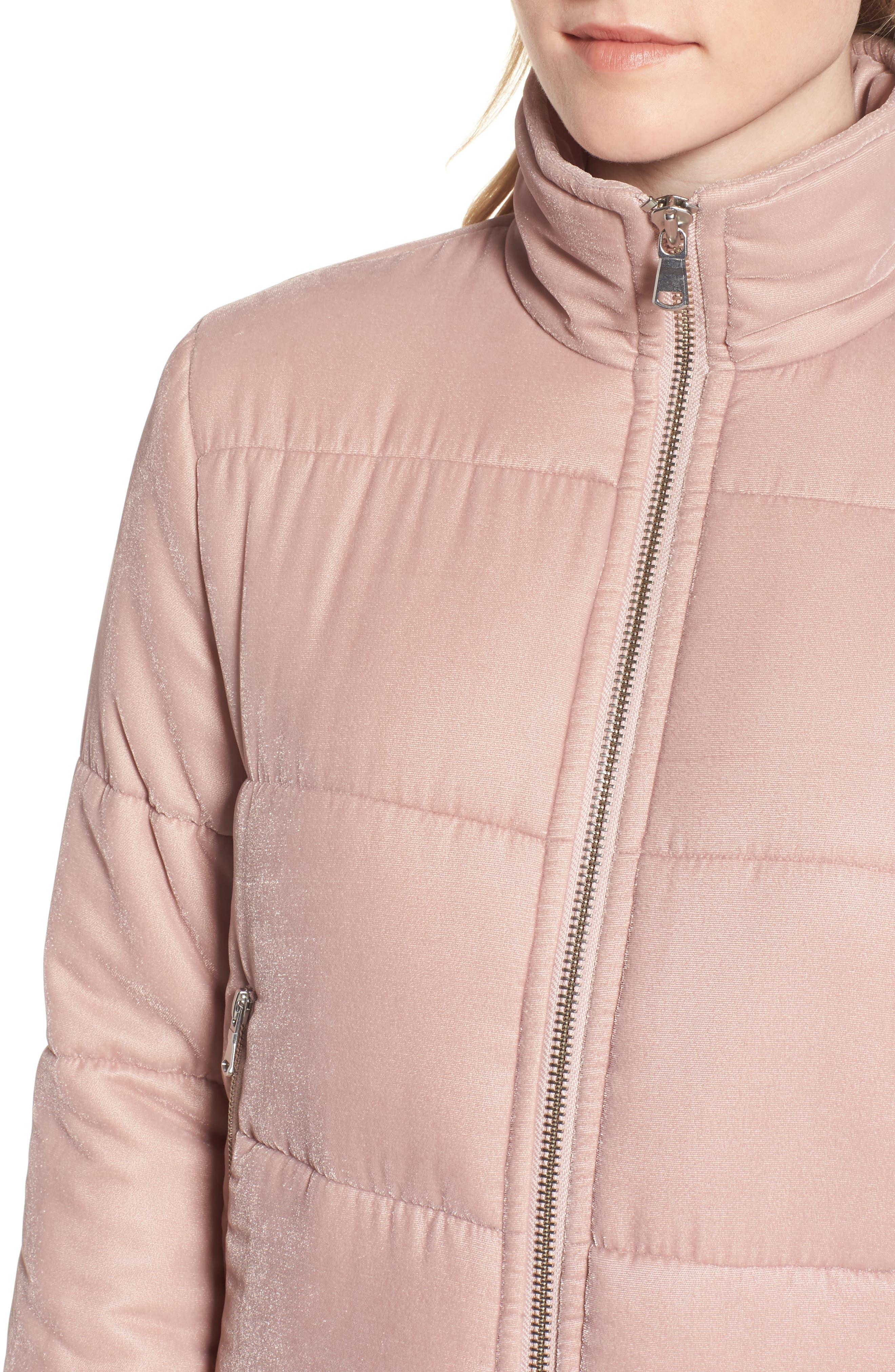 Quilted Velvet Jacket,                             Alternate thumbnail 4, color,                             Pink Adobe