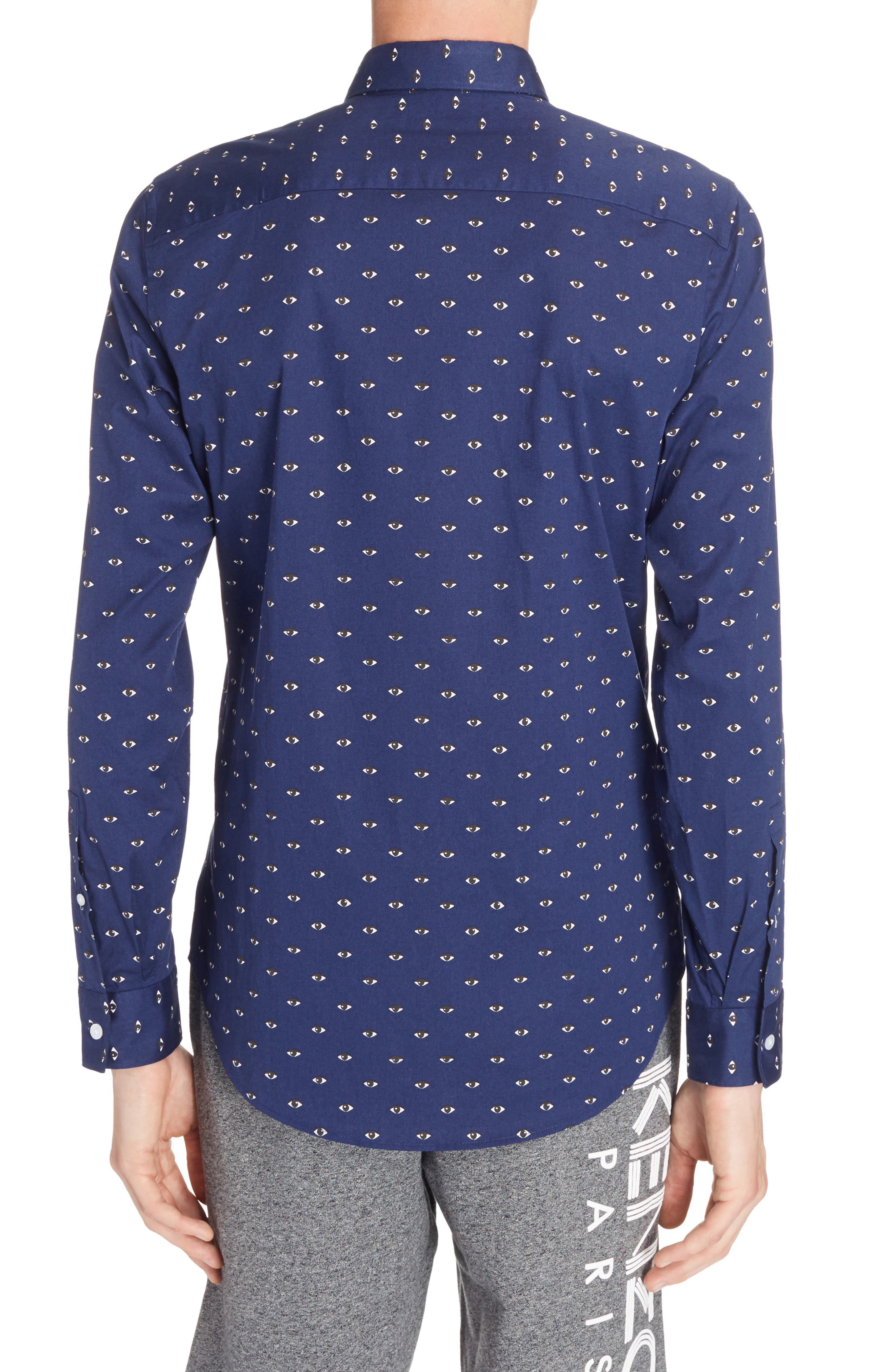 Allover Eye Print Woven Shirt,                             Alternate thumbnail 3, color,                             Navy Blue