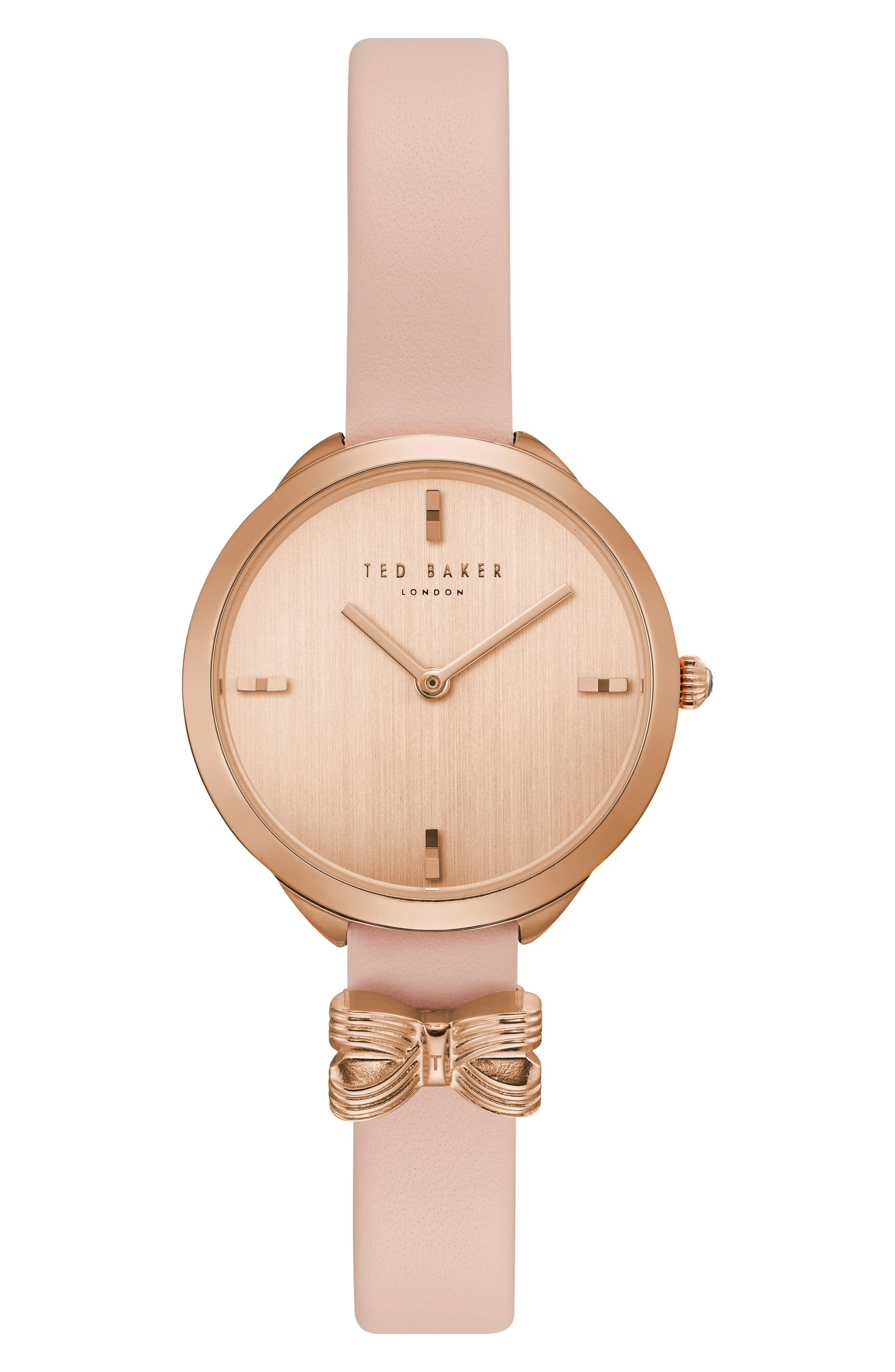 Elana Leather Strap Watch, 30mm,                         Main,                         color, Pink/ Rose Gold
