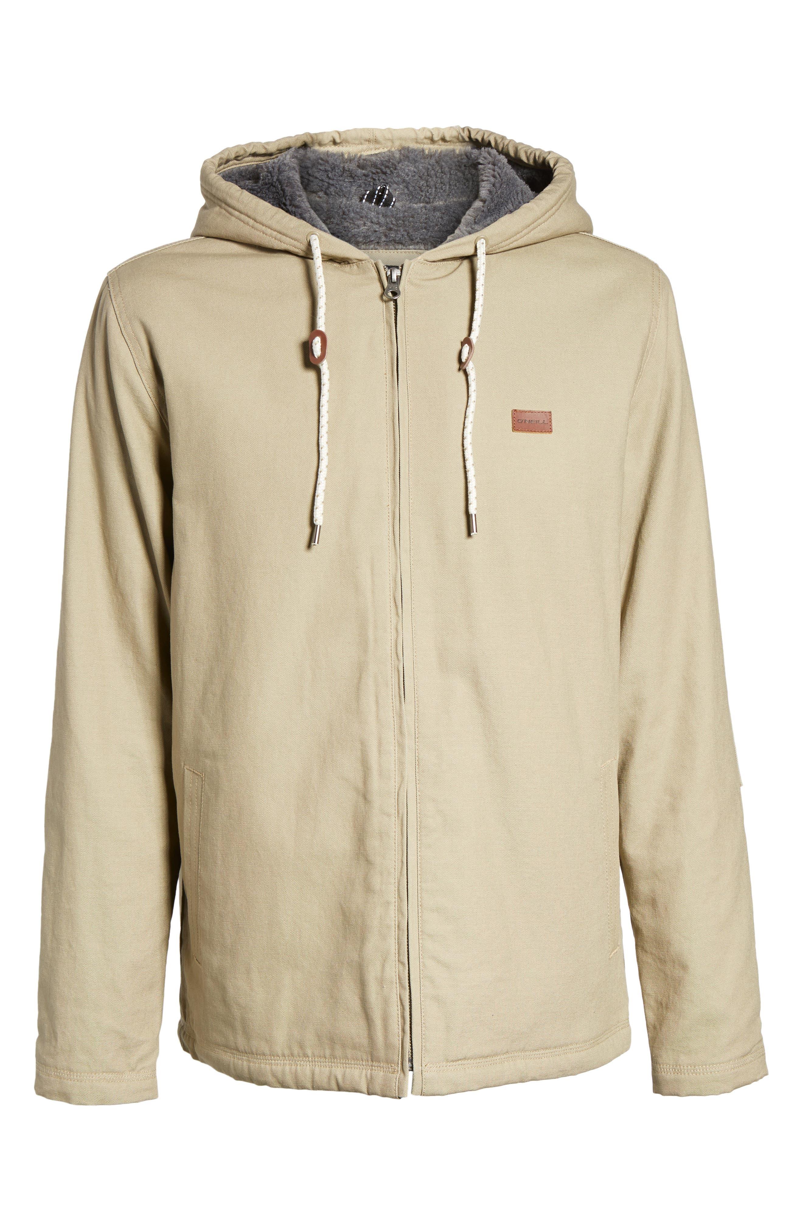 Colton Faux Shearling Trim Hooded Jacket,                             Alternate thumbnail 6, color,                             Khaki