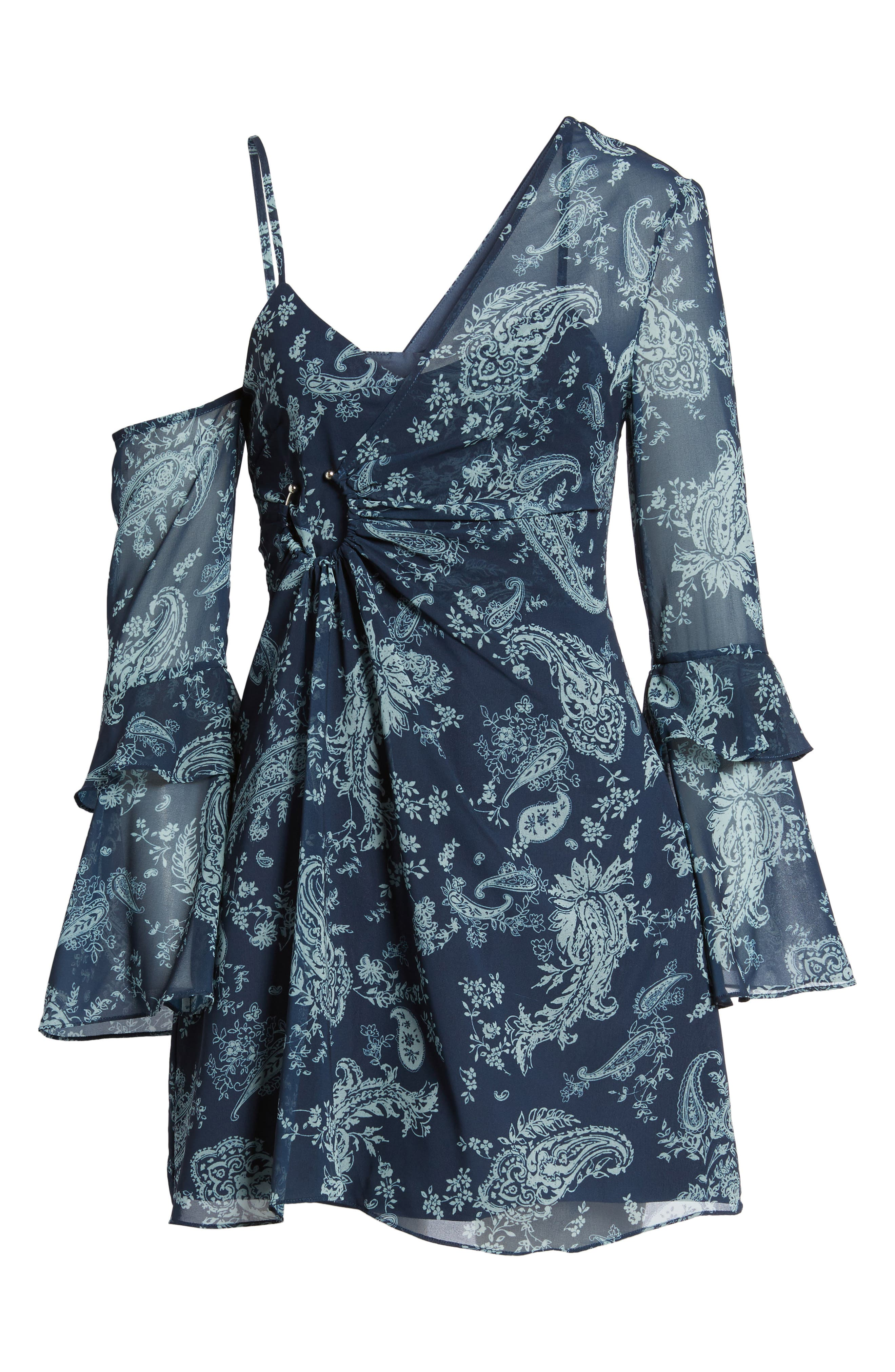 Go With It Minidress,                             Alternate thumbnail 6, color,                             Navy Paisley