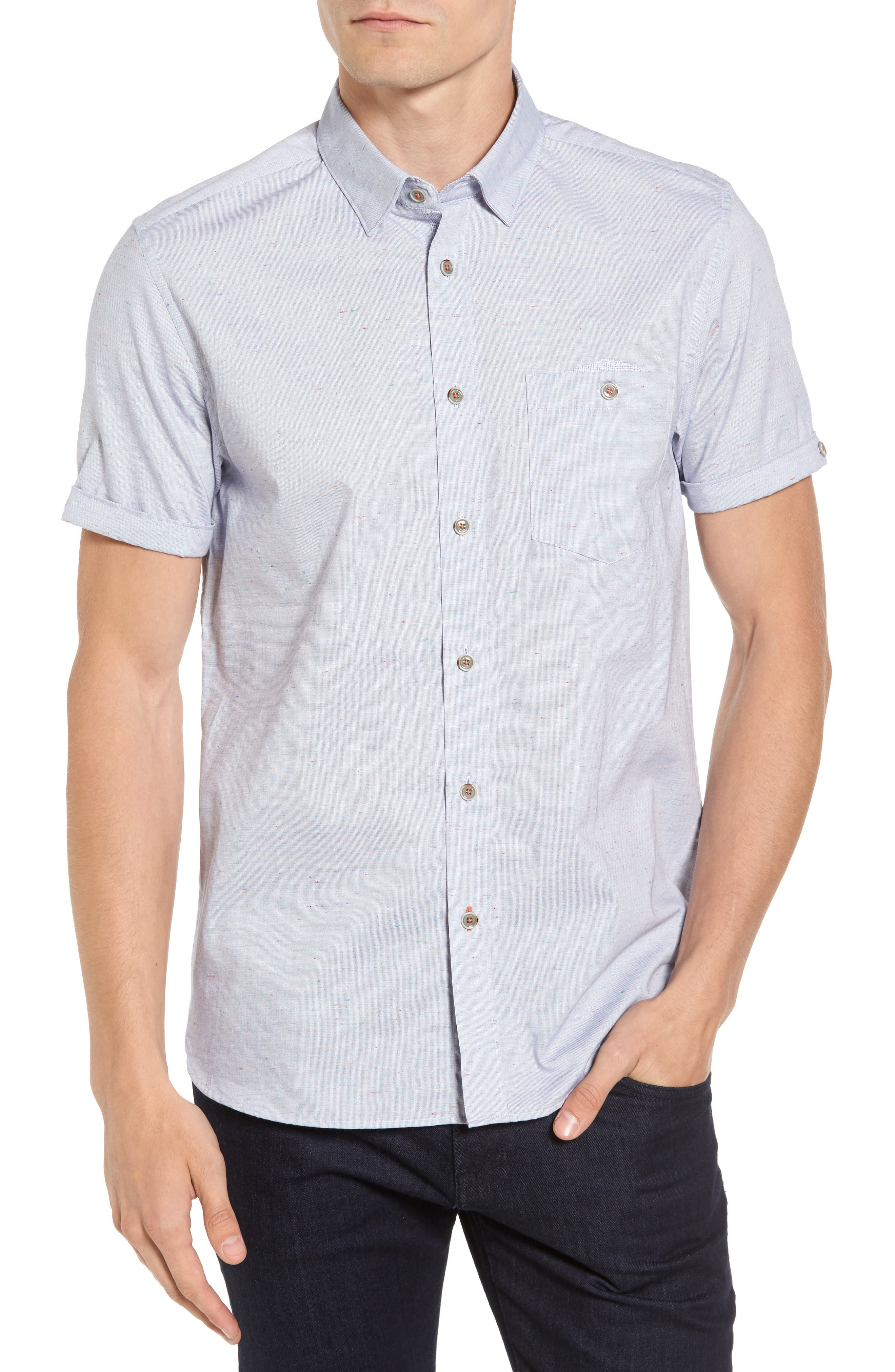 Beya Slim Fit Nepped Woven Shirt,                         Main,                         color, Blue
