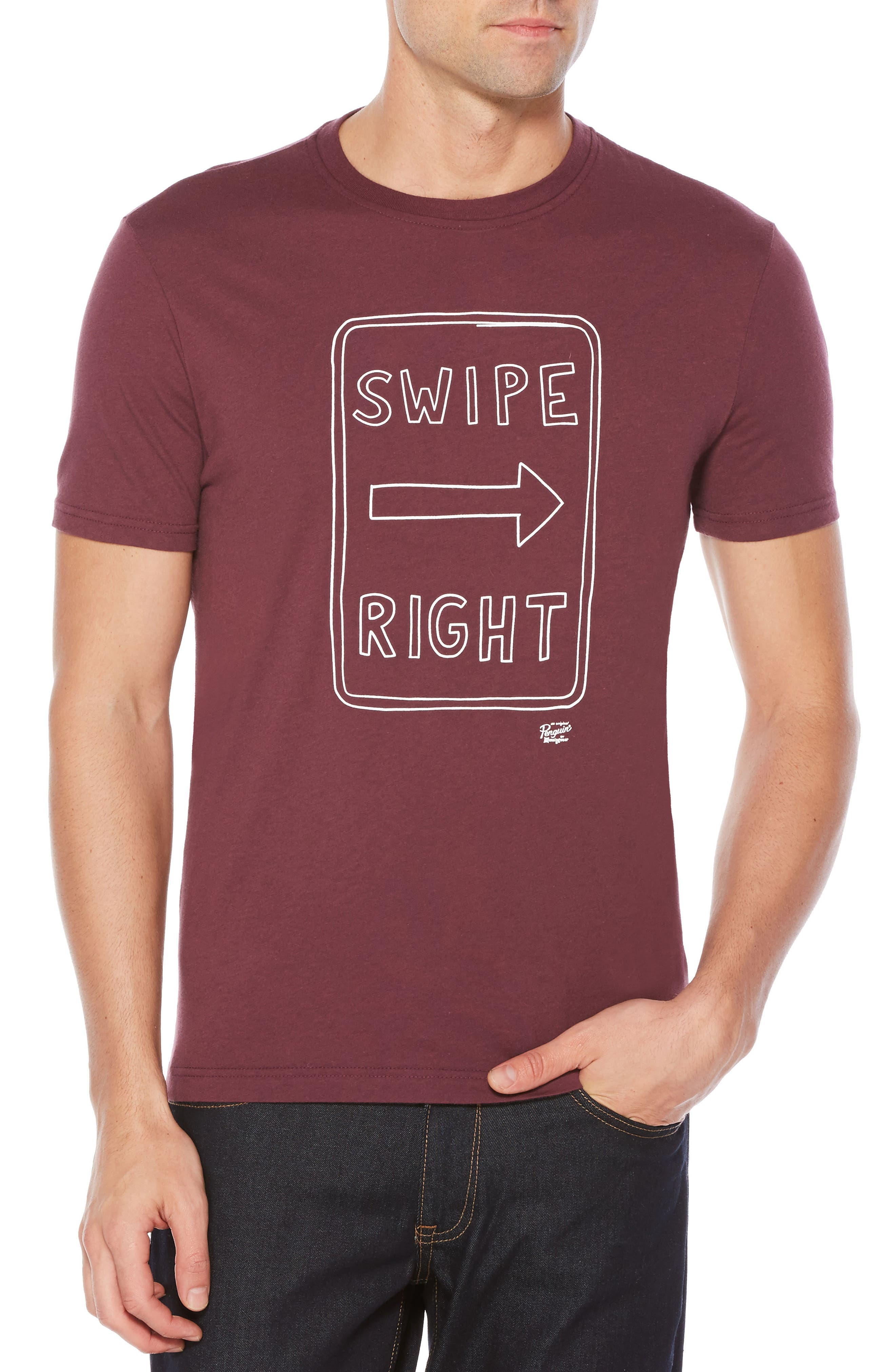 Swipe Right Heritage T-Shirt,                         Main,                         color, Plum Wine