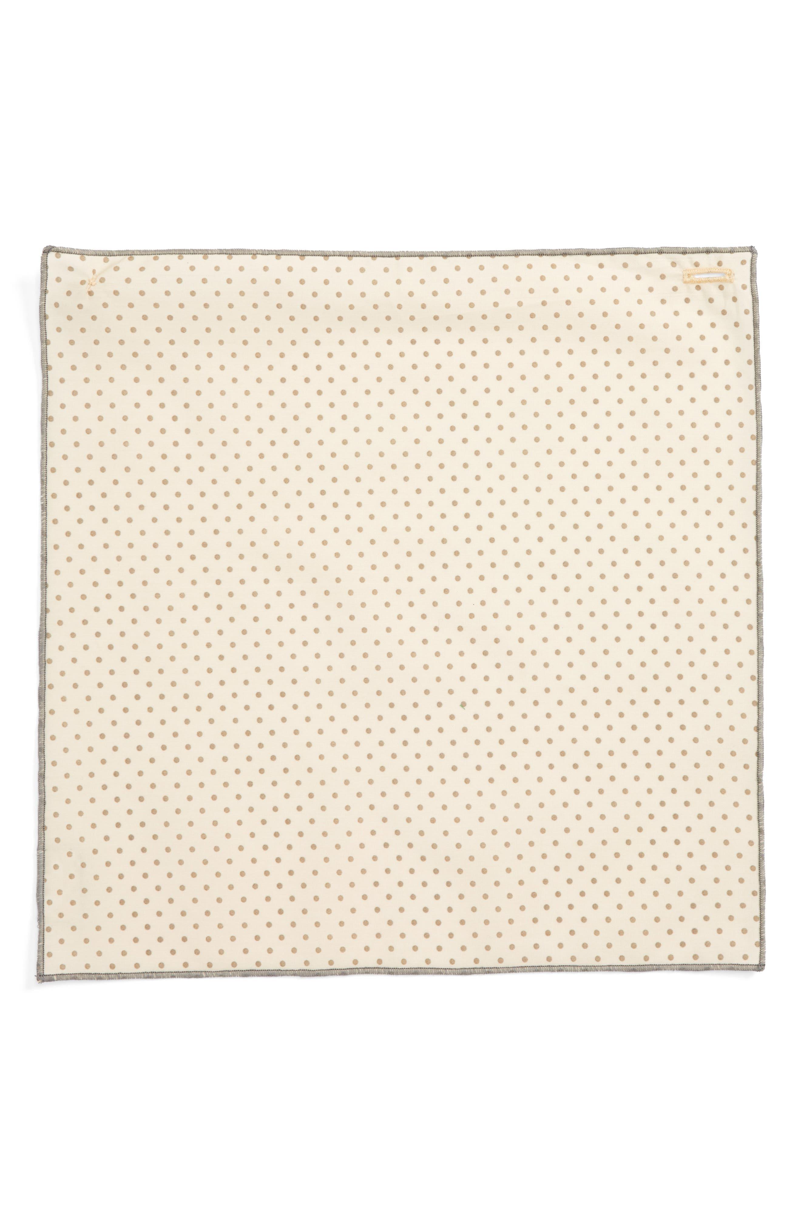 Dot Cotton Pocket Square,                             Alternate thumbnail 2, color,                             Cream