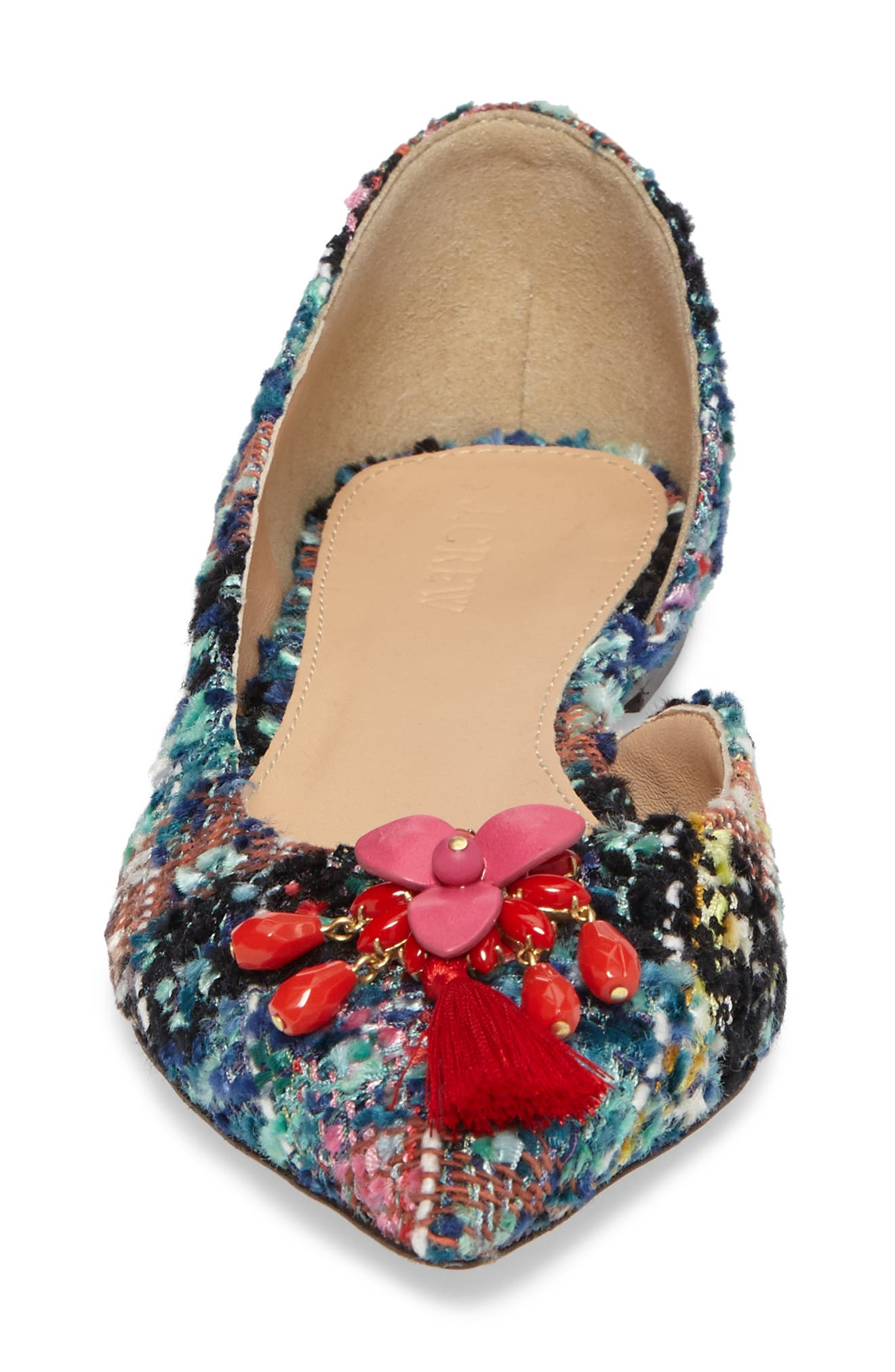 Sadie Pointy Toe Flat,                             Alternate thumbnail 5, color,                             Sundrenched Spearmint Fabric