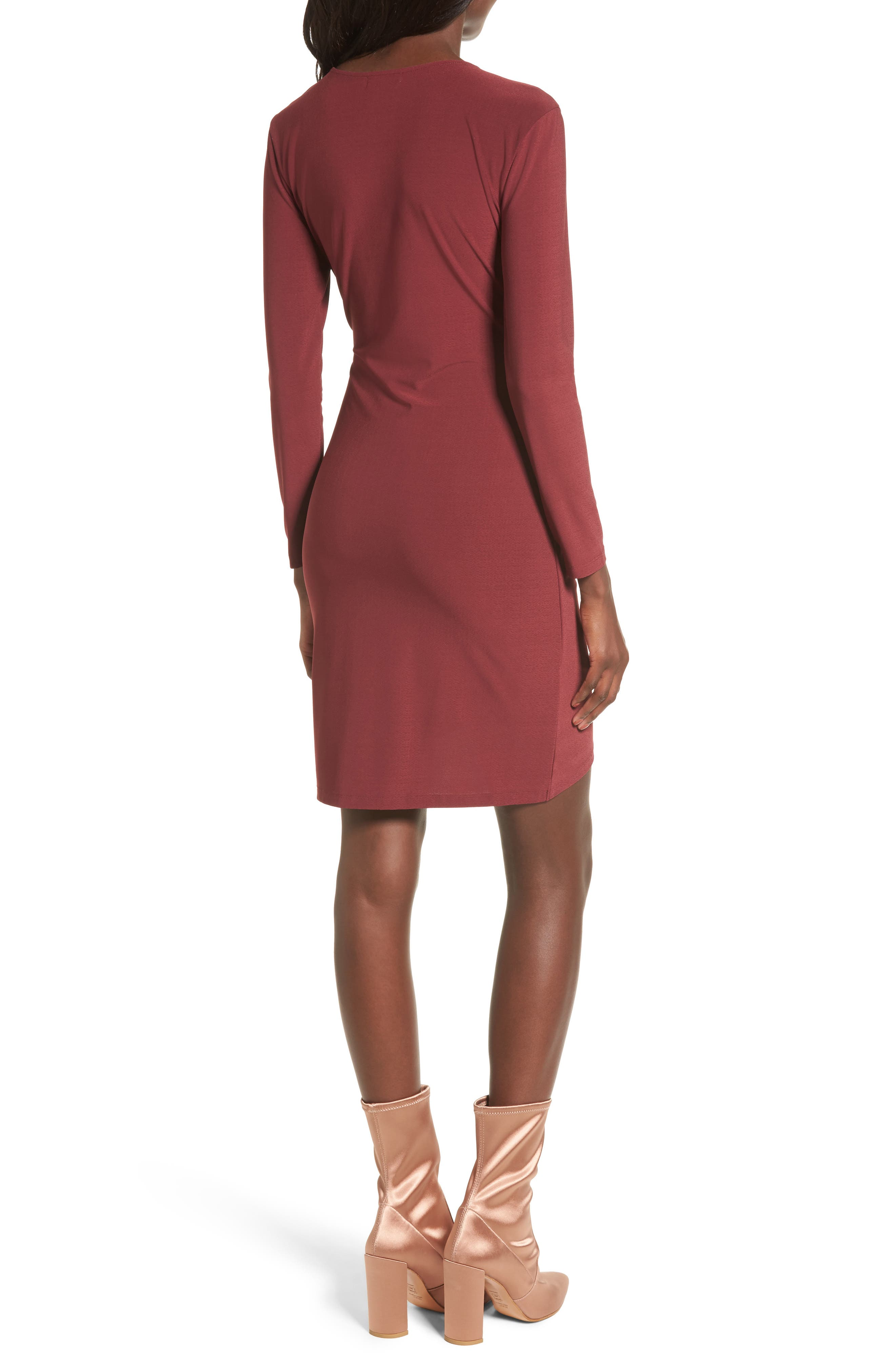 Ruched Sheath Dress,                             Alternate thumbnail 2, color,                             Red Tannin