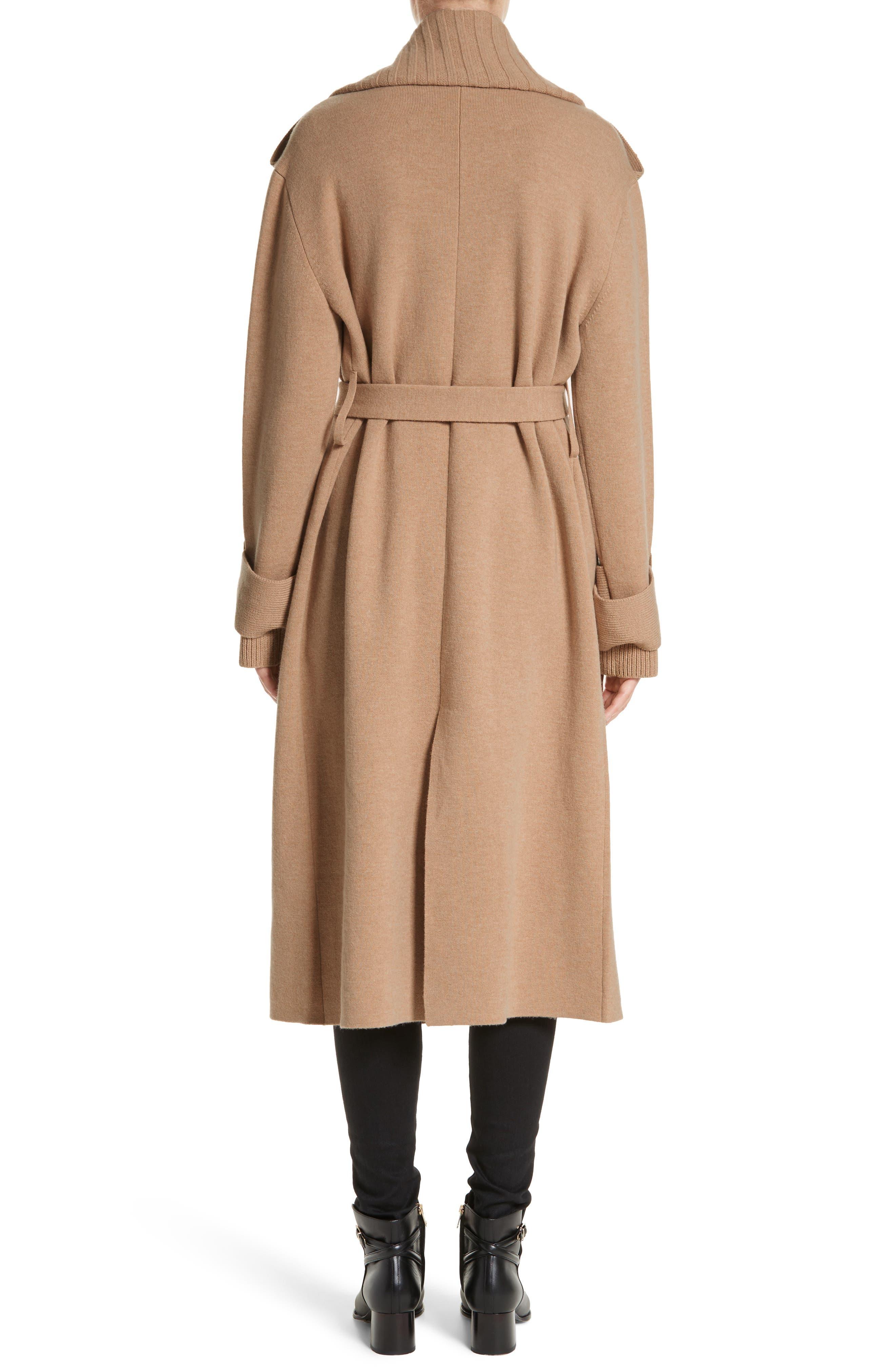 Piota Wool Blend Knit Trench Coat,                             Alternate thumbnail 2, color,                             Camel
