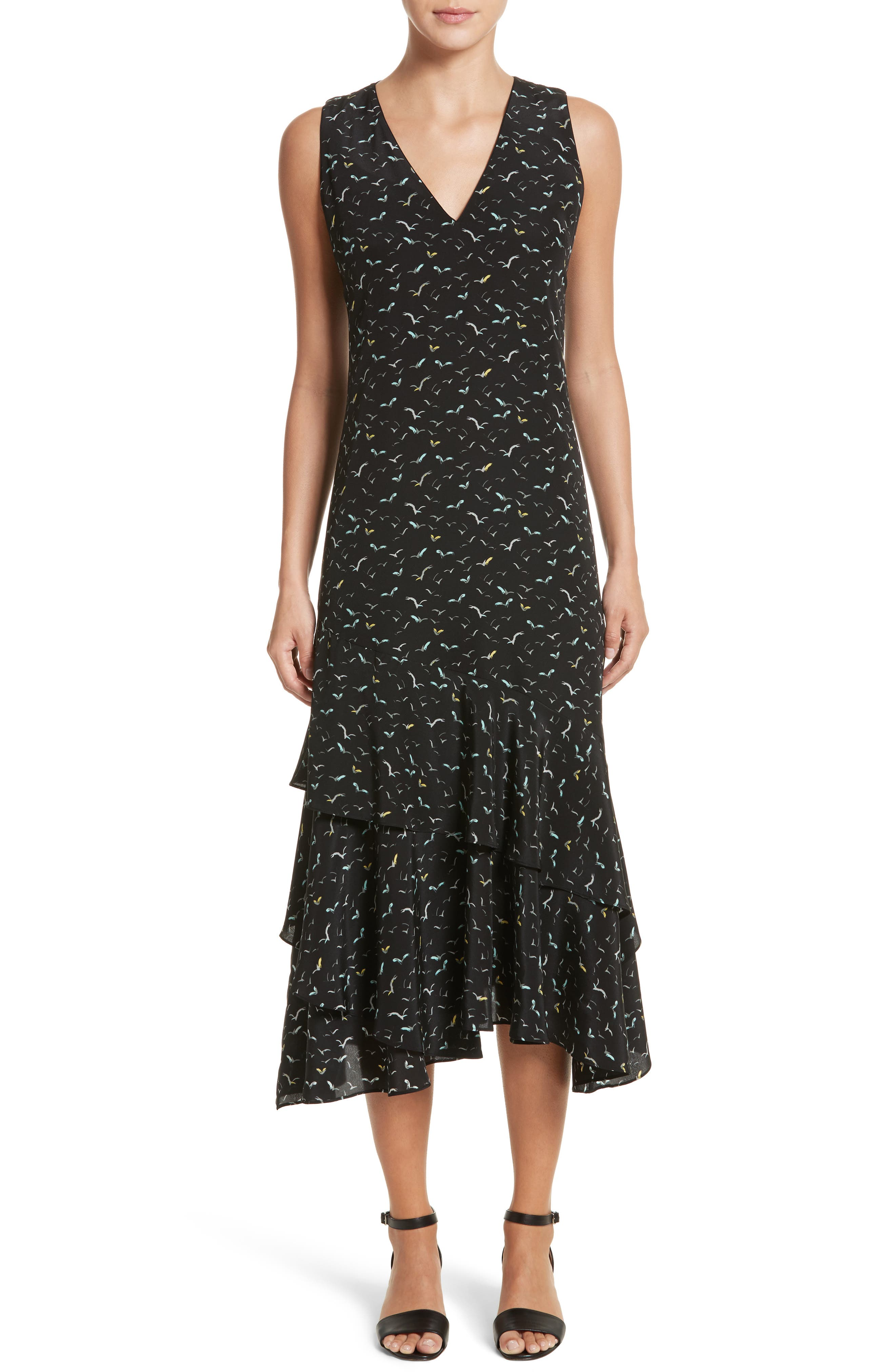 Taurina Tiered Silk Dress,                         Main,                         color, Black Multi