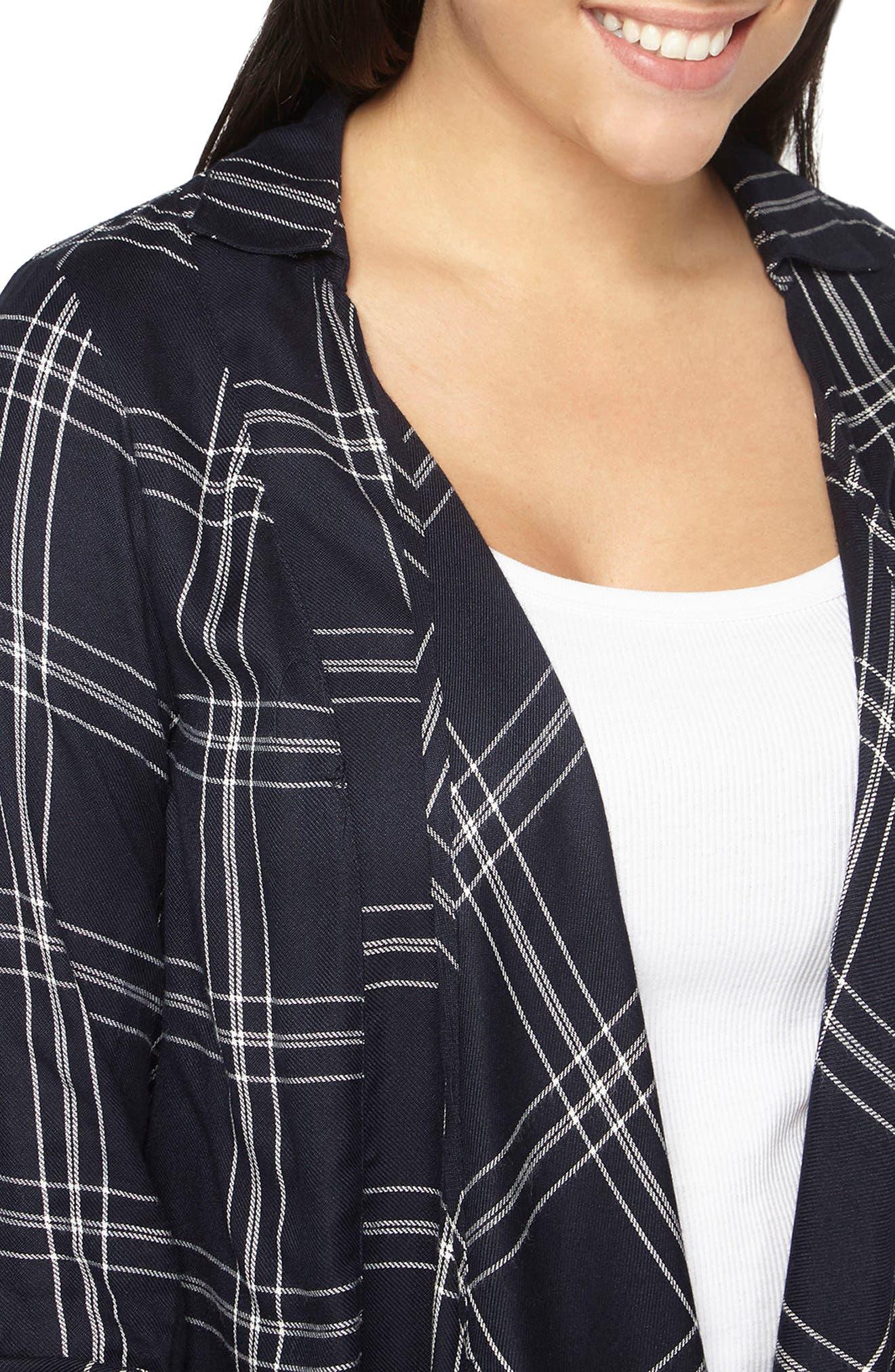Alternate Image 4  - Evans Check Plaid Jacket (Plus Size)
